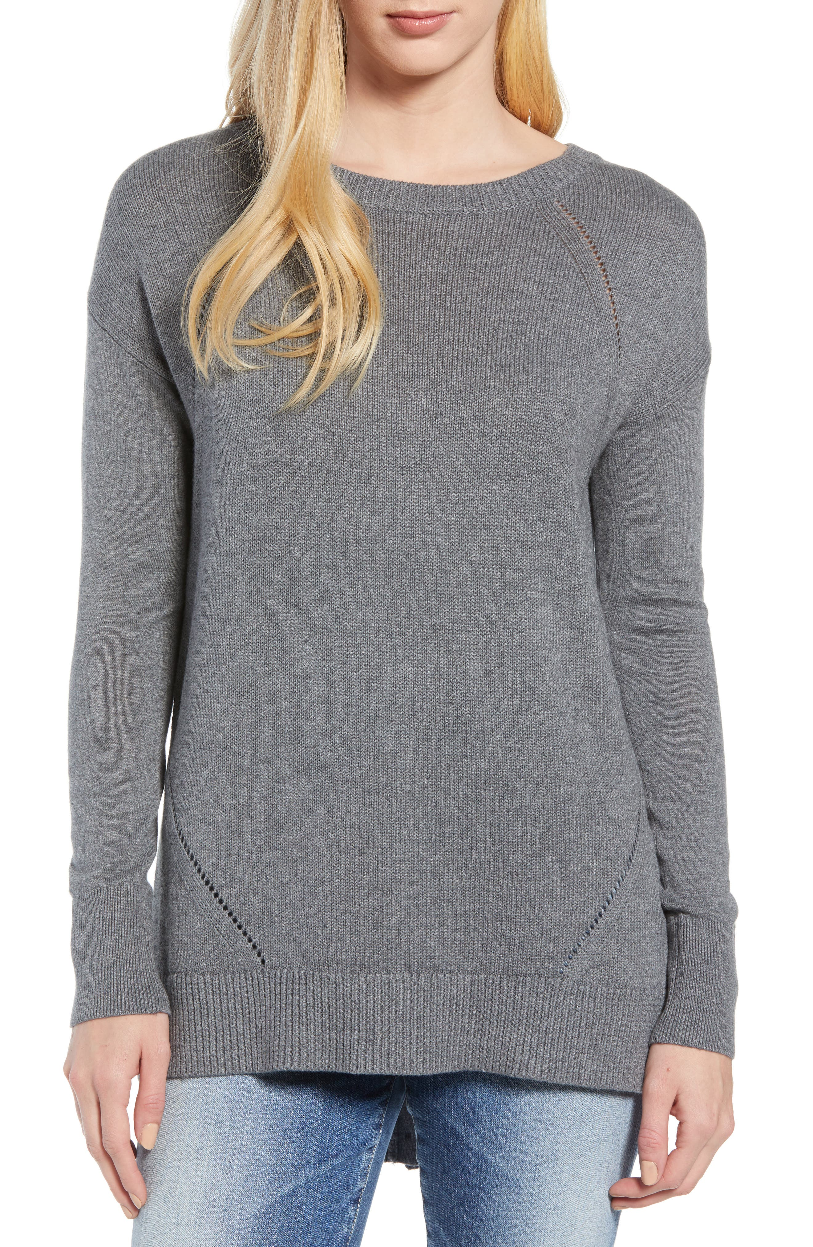 Button Back Tunic Sweater,                             Main thumbnail 1, color,                             GREY DARK HEATHER