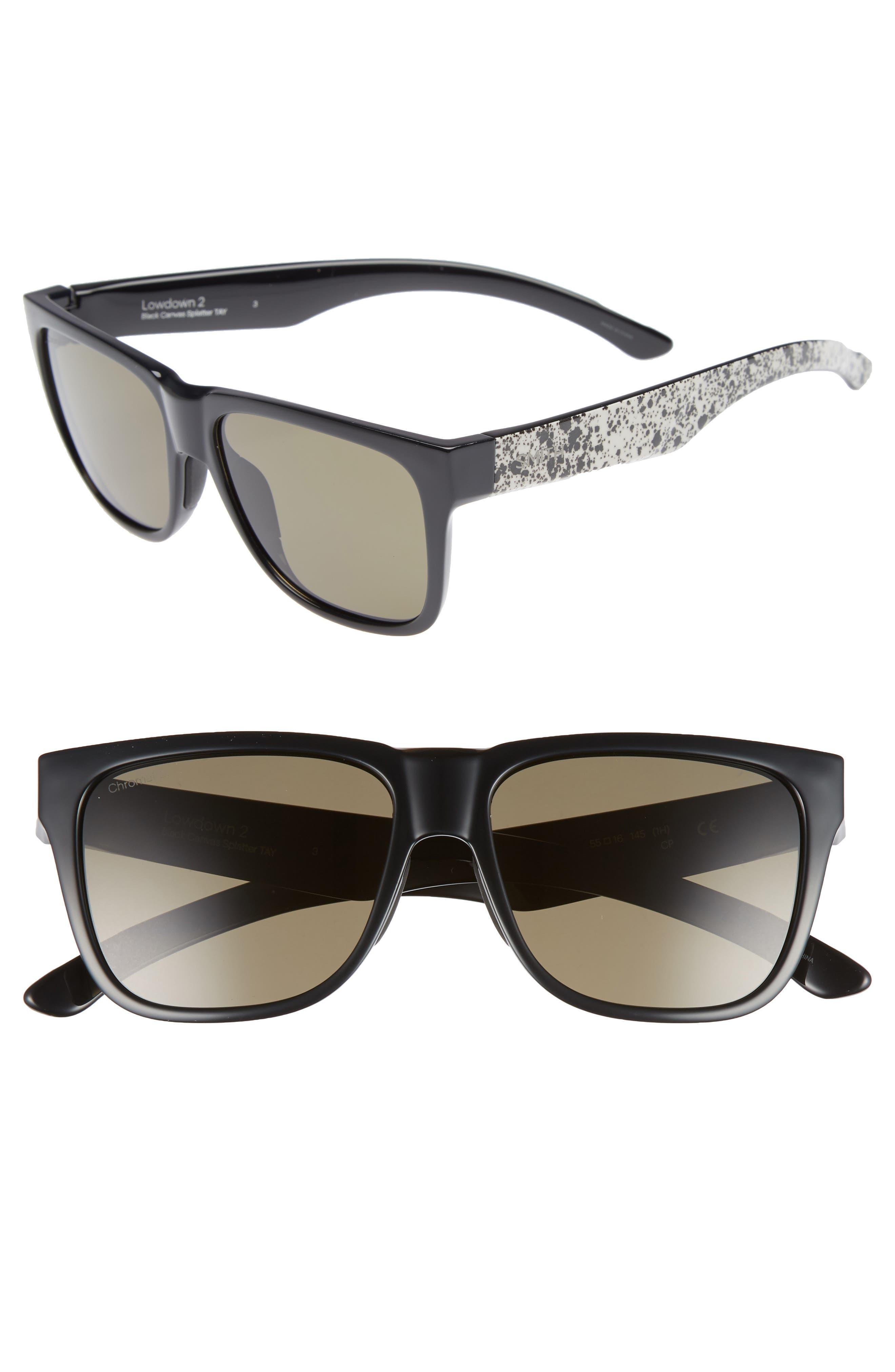 Outlier 2 57mm ChromaPop<sup>™</sup> Sunglasses,                         Main,                         color, MATTE BLACK/ GREY GREEN
