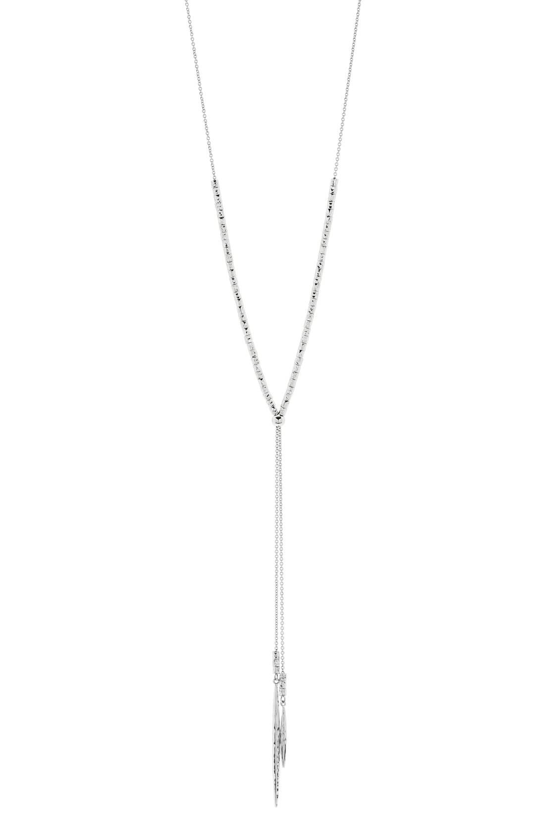 Laguna Adjustable Lariat Necklace,                             Main thumbnail 1, color,                             SILVER