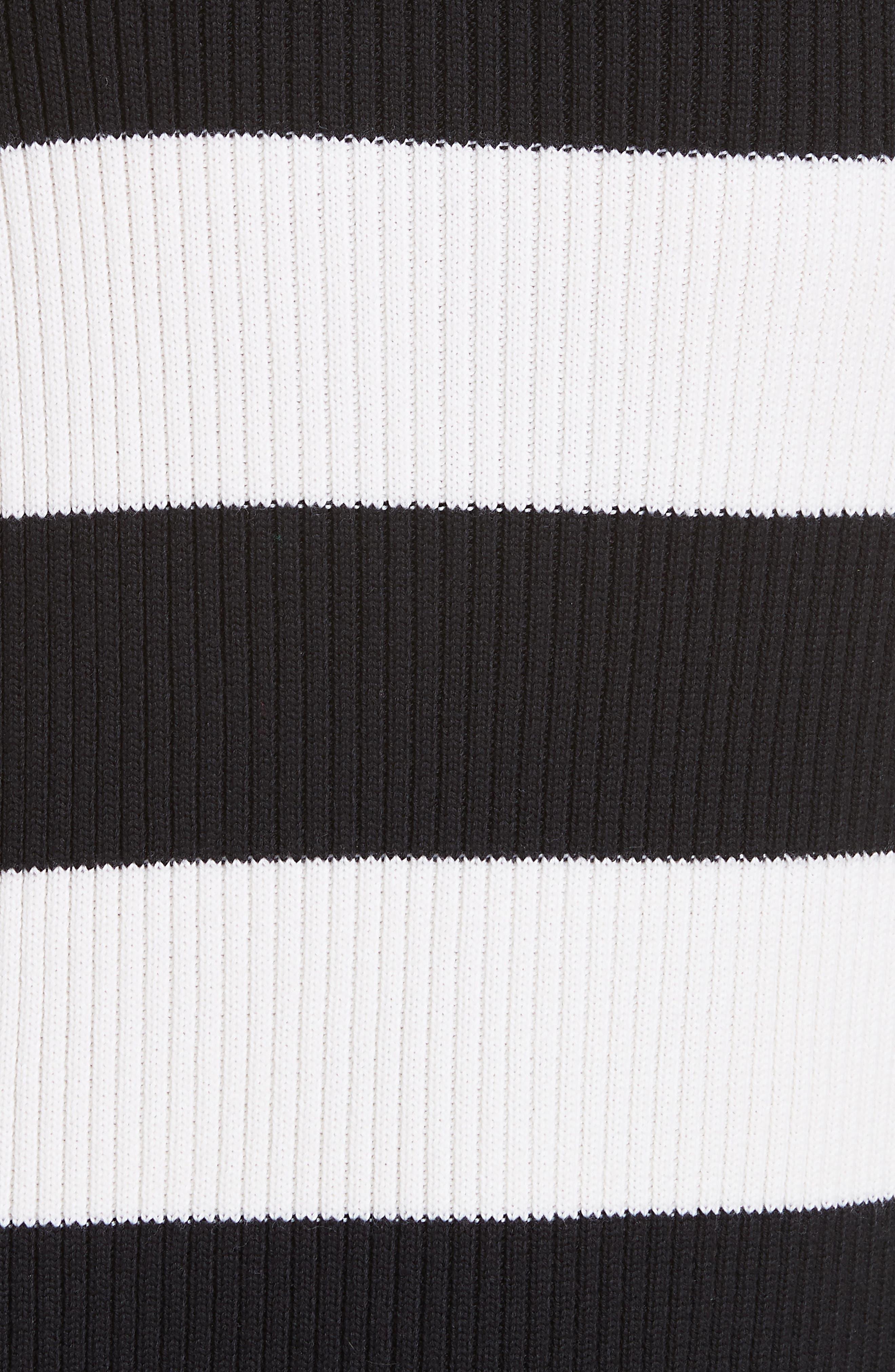 Origami Flap Stripe Midi Skirt,                             Alternate thumbnail 5, color,                             BLACK/ WHITE MULTI