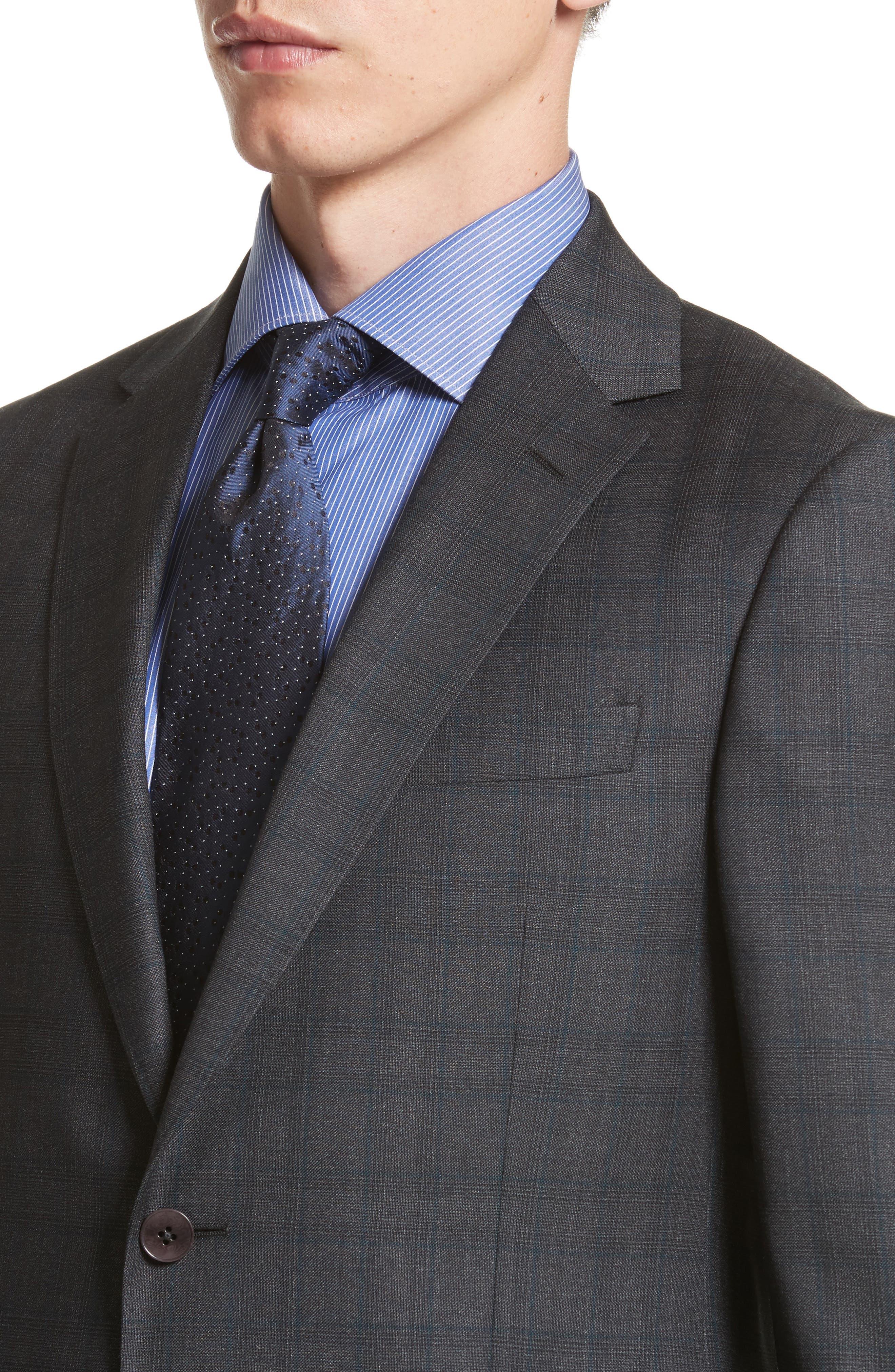 Classic Fit Plaid Wool Suit,                             Alternate thumbnail 4, color,                             026