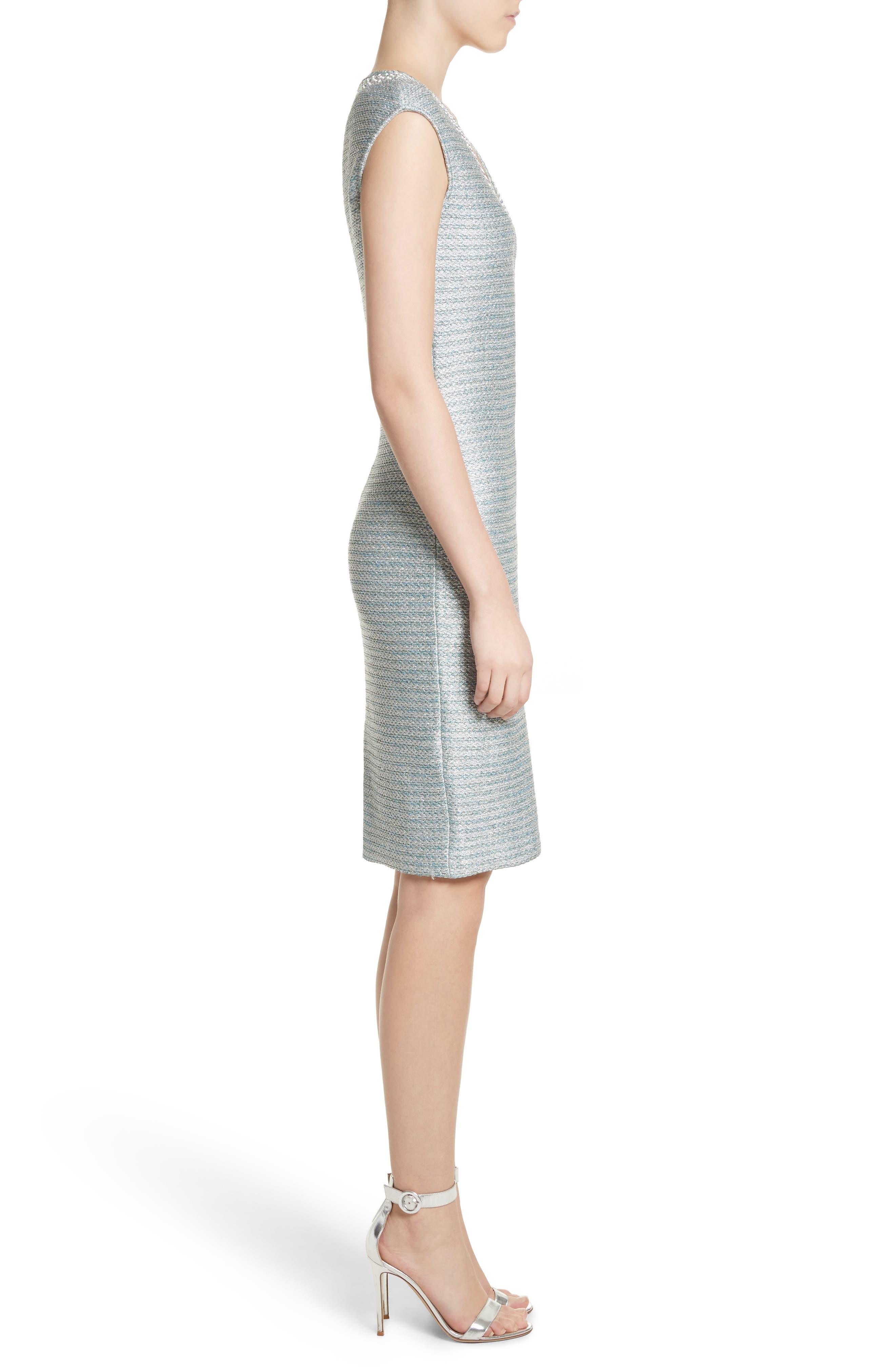 Gleam Metallic Knit Sheath Dress,                             Alternate thumbnail 3, color,