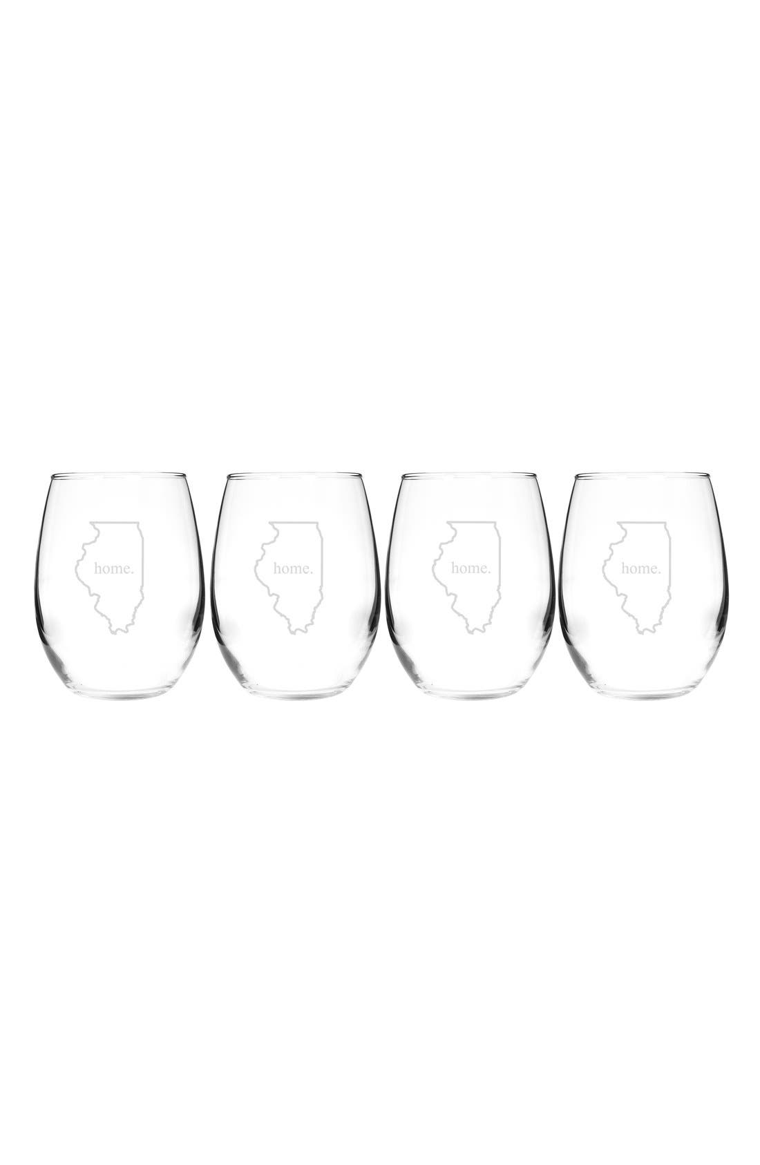 Home State Set of 4 Stemless Wine Glasses,                             Main thumbnail 15, color,