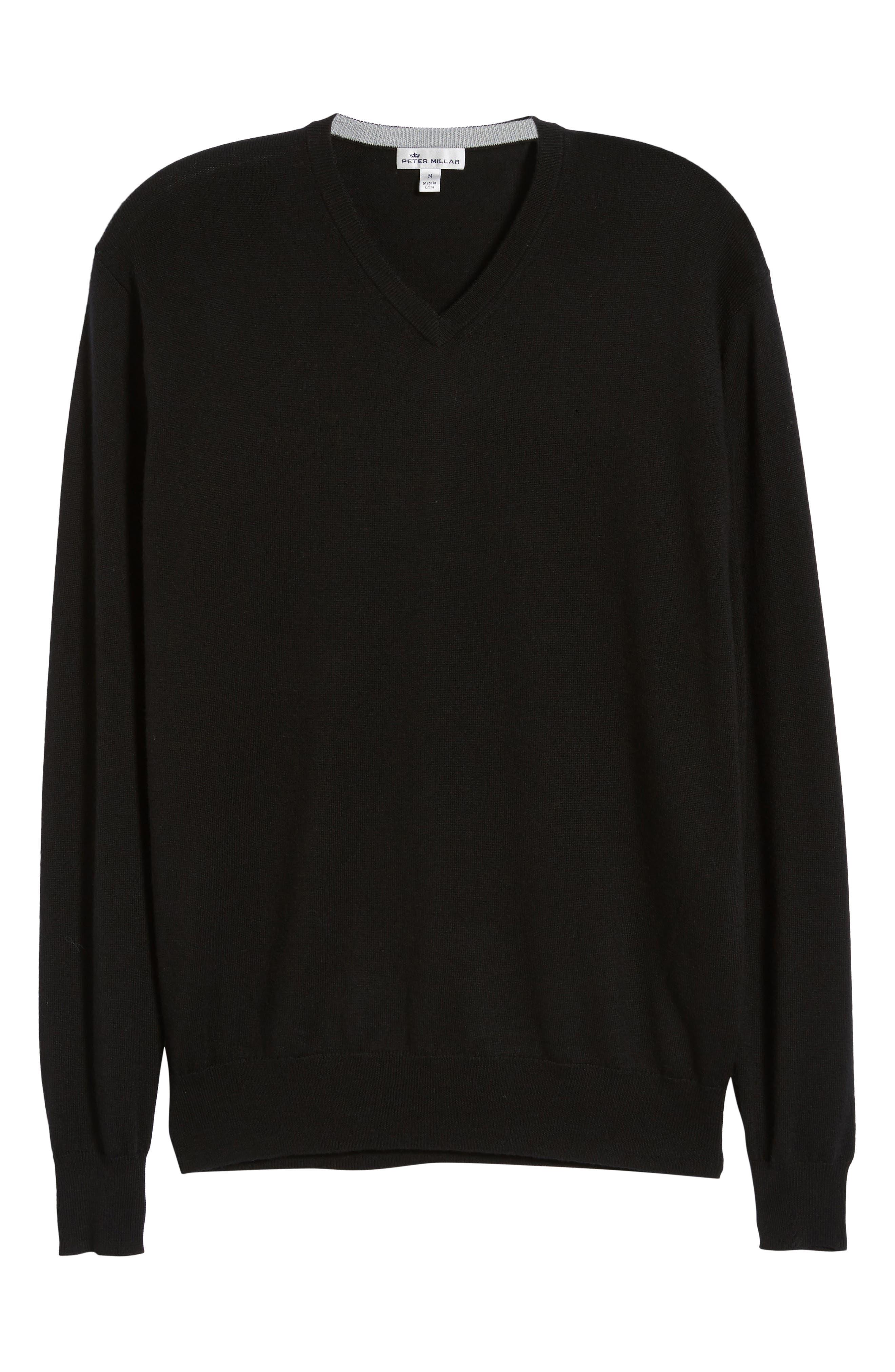 Wool & Silk V-Neck Sweater,                             Alternate thumbnail 6, color,                             001