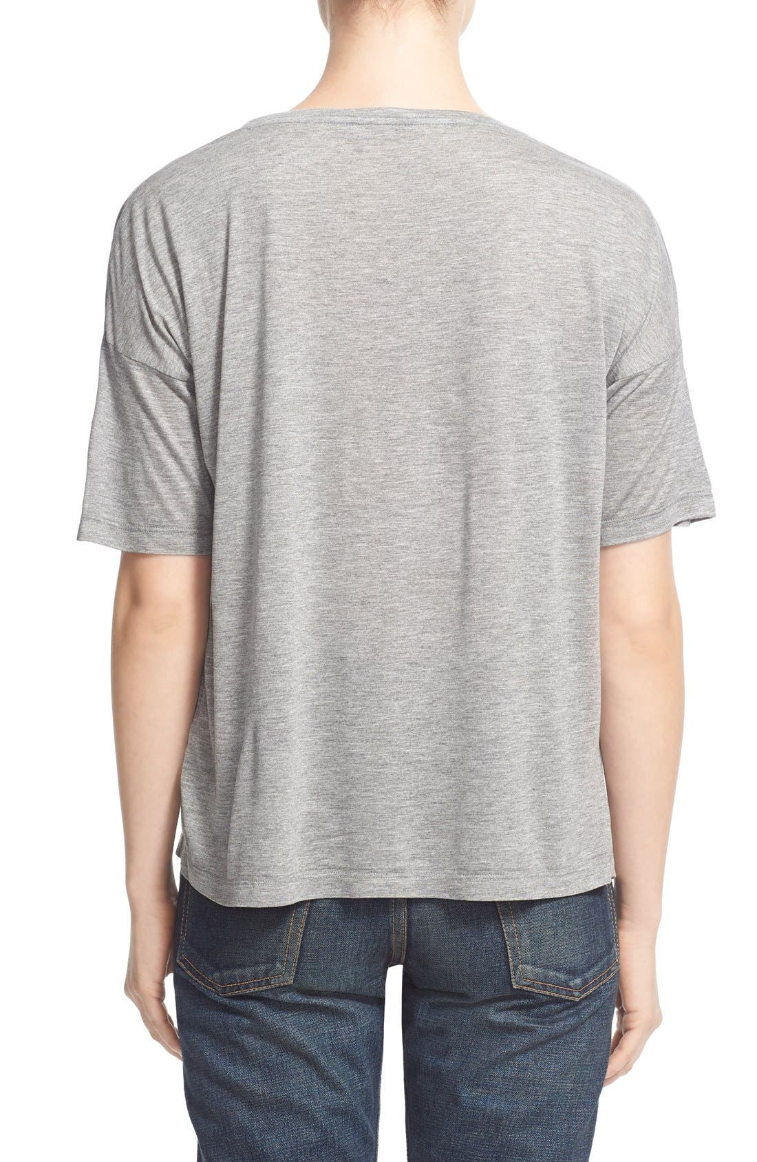 Short Sleeve Low Neck Tee,                             Alternate thumbnail 2, color,