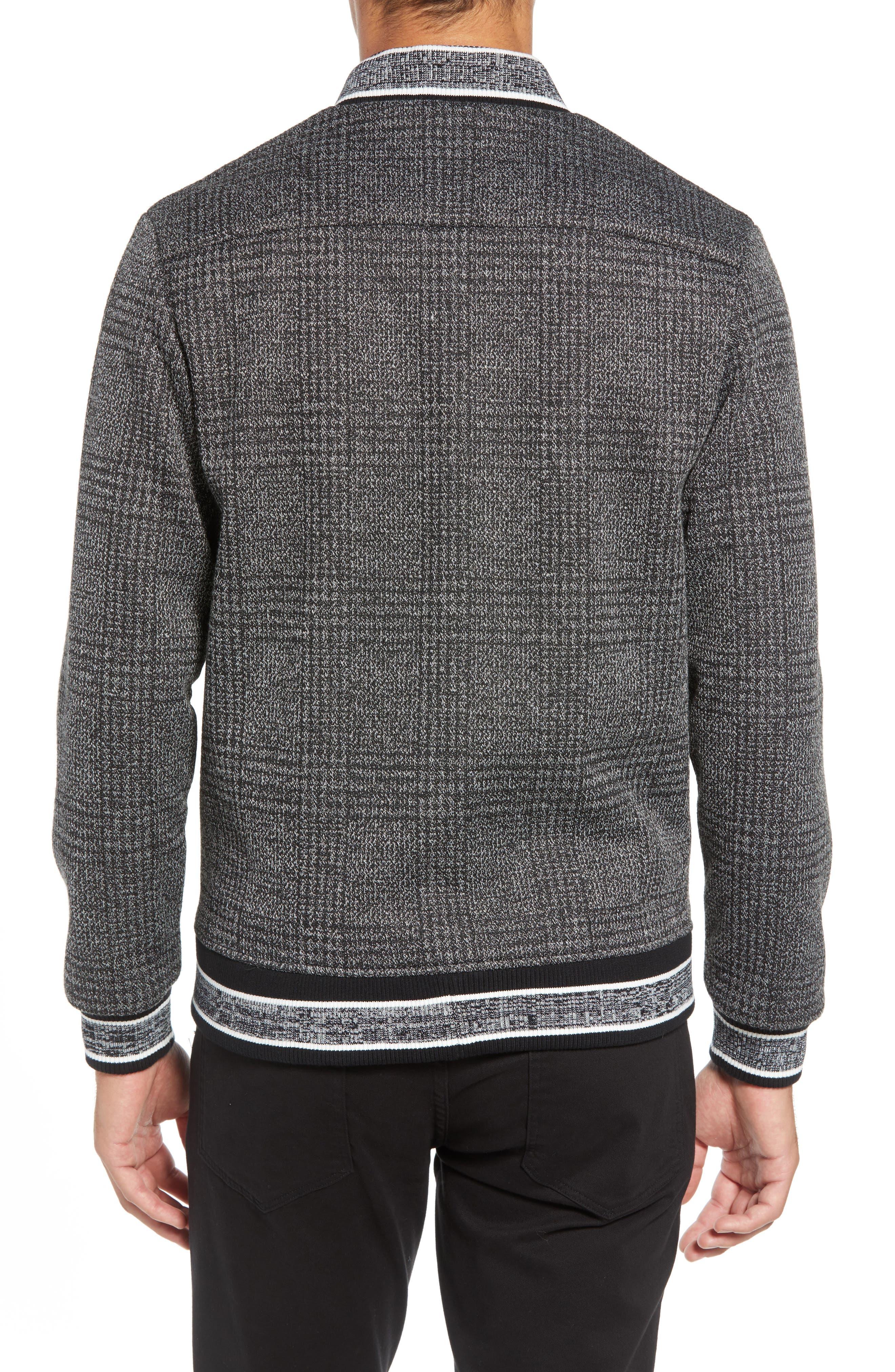 Slim Fit Plaid Knit Bomber Jacket,                             Alternate thumbnail 2, color,                             CHARCOAL PLAID