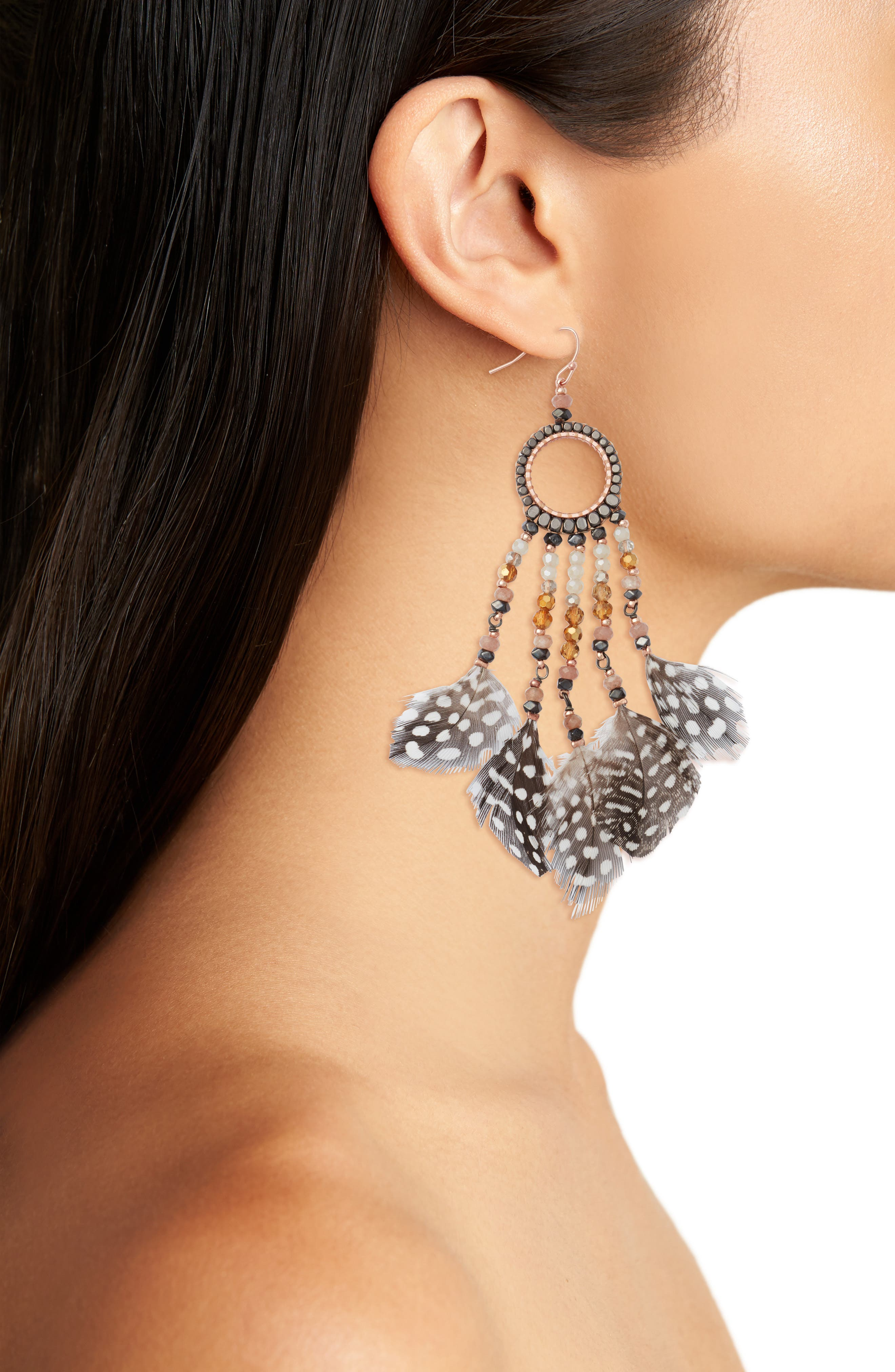 Multi-Feather Drop Earrings,                             Alternate thumbnail 2, color,