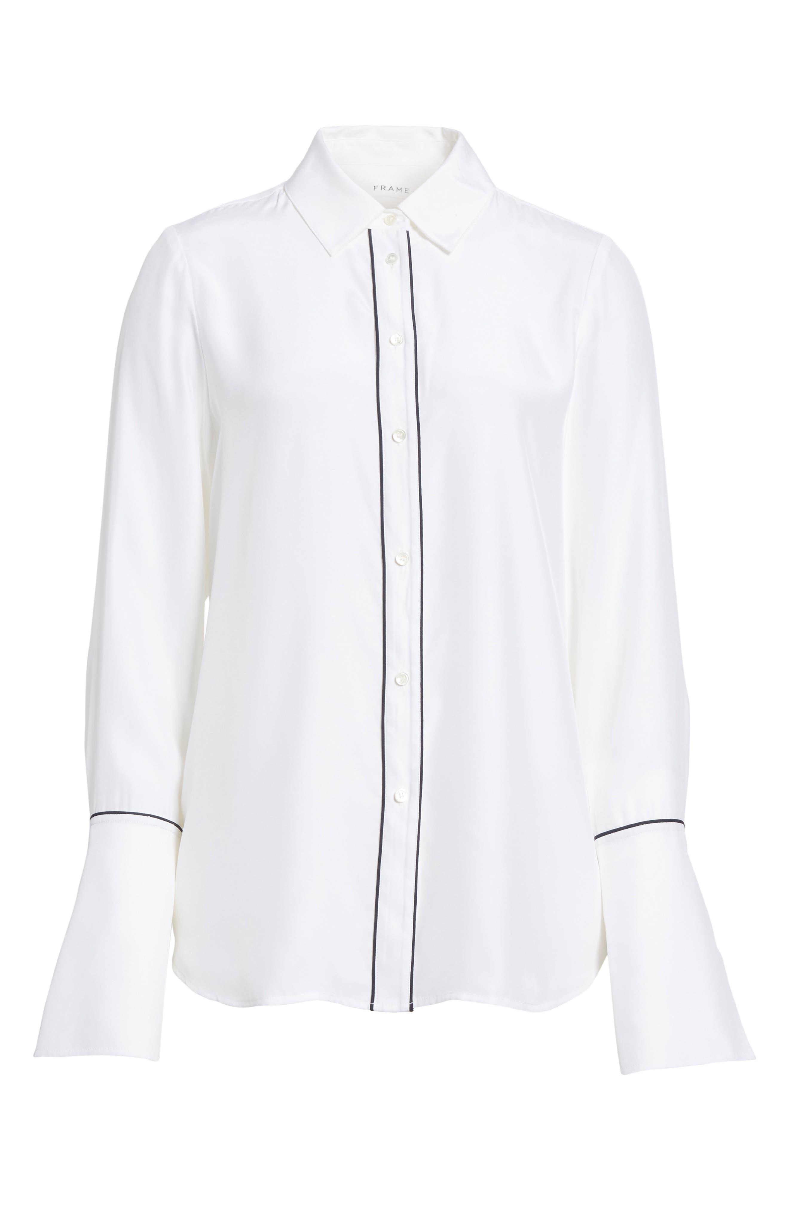Long Cuff Silk Shirt,                             Alternate thumbnail 6, color,                             120
