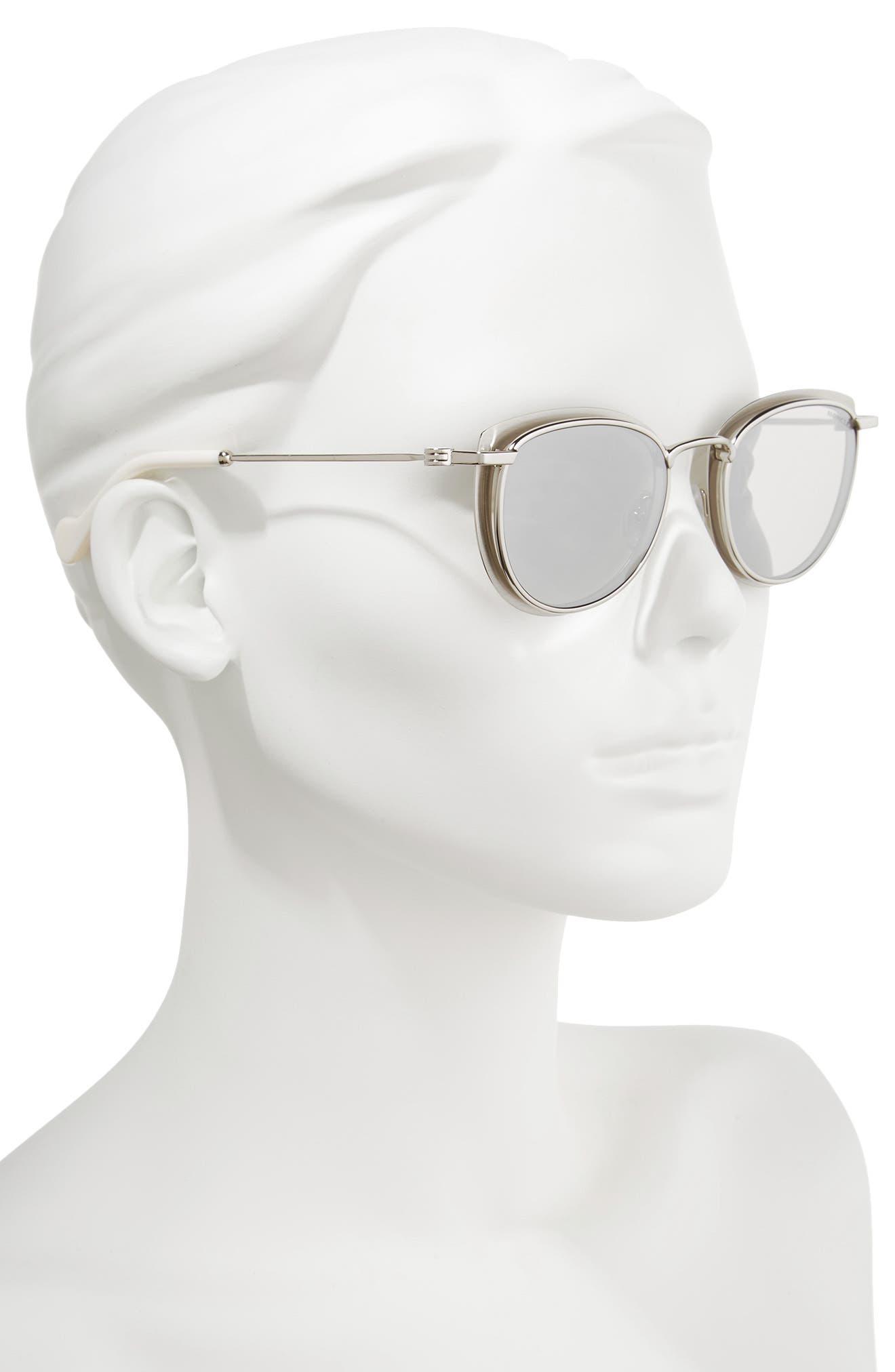 50mm Mirrored Geometric Sunglasses,                             Alternate thumbnail 2, color,                             PALADIUM/ WHITE/ SMOKE/ SILVER