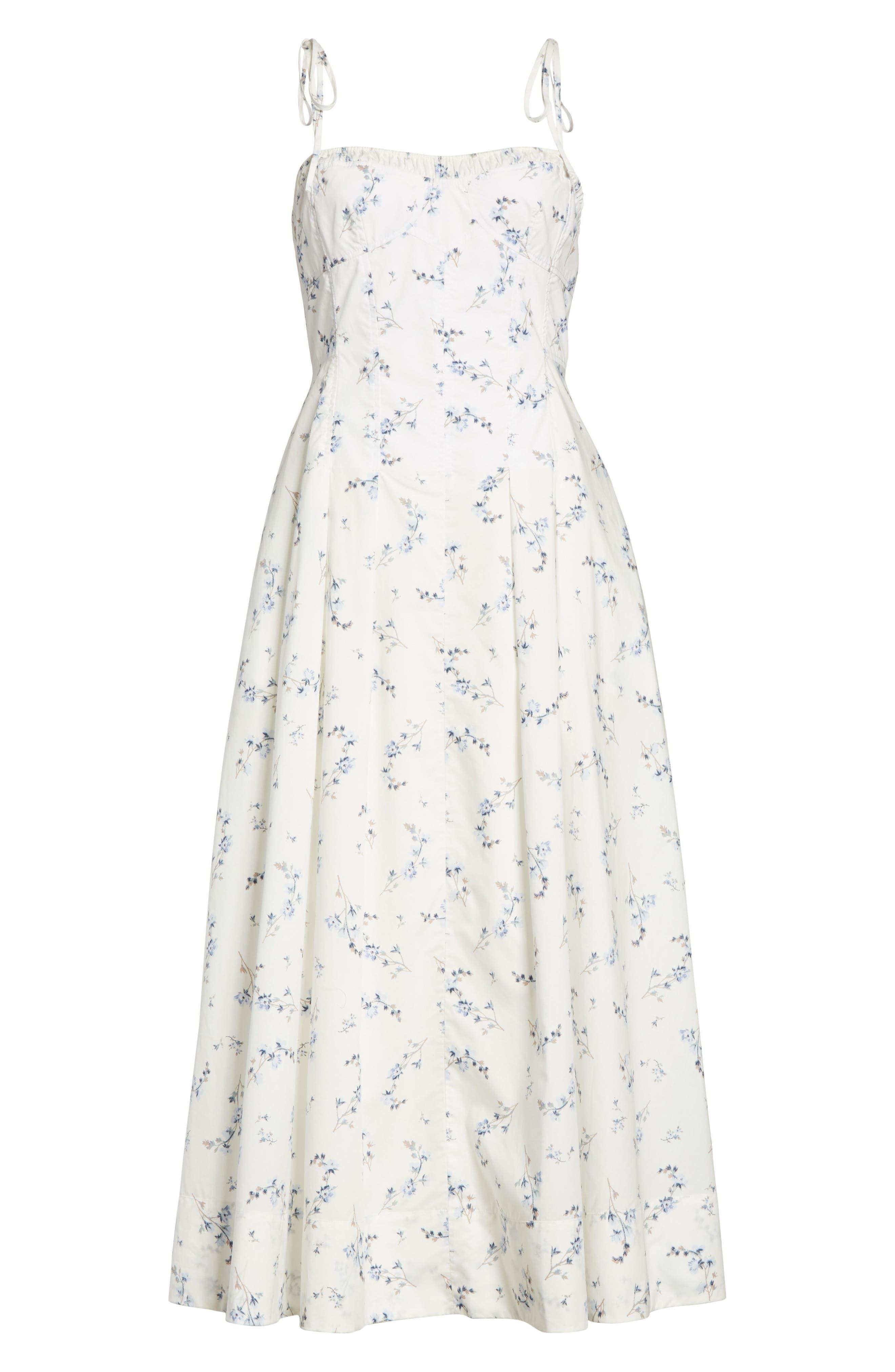 Francine Floral Cotton Poplin Dress,                             Alternate thumbnail 6, color,                             103