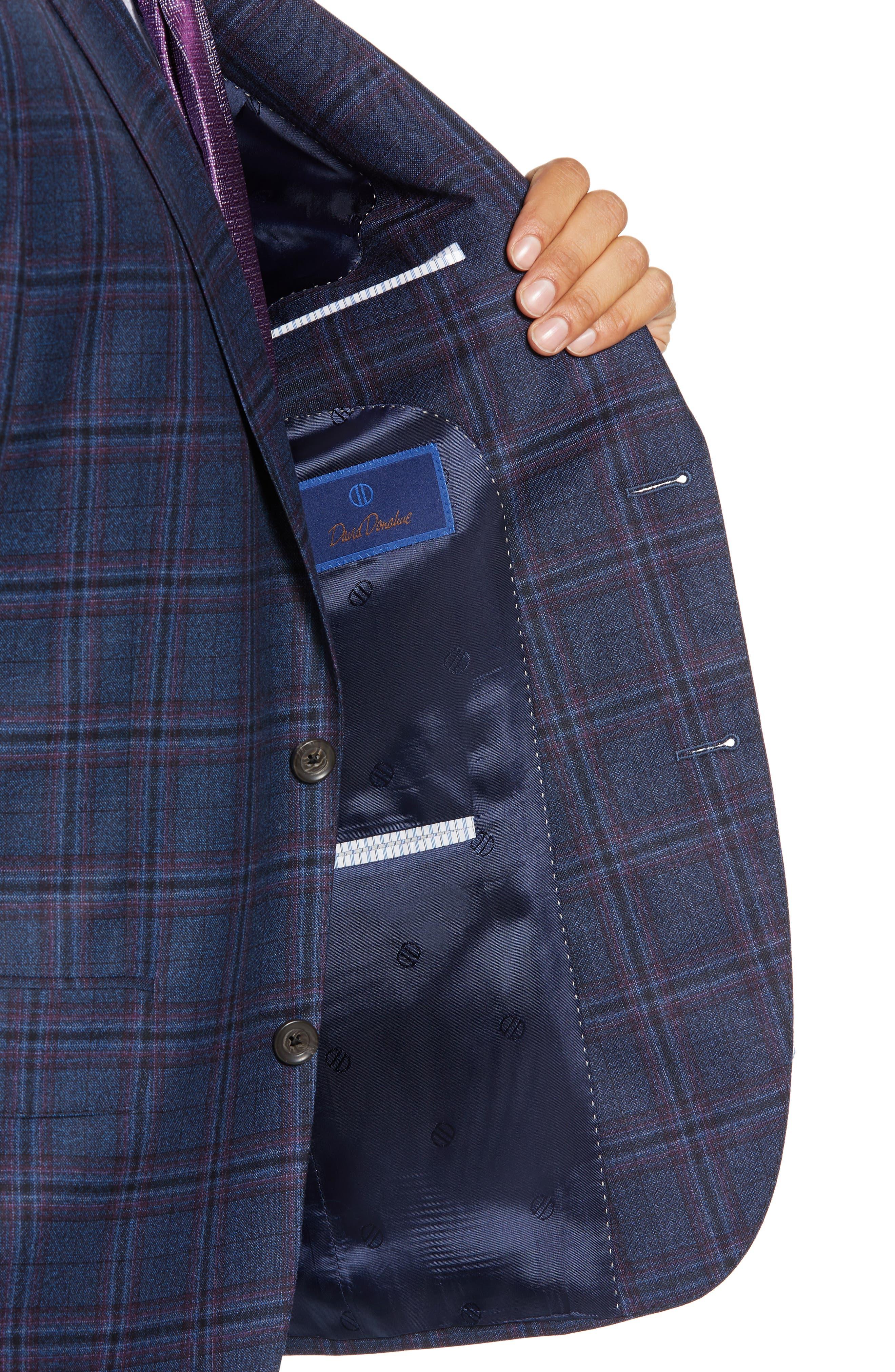 Connor Classic Fit Plaid Wool Sport Coat,                             Alternate thumbnail 4, color,                             400
