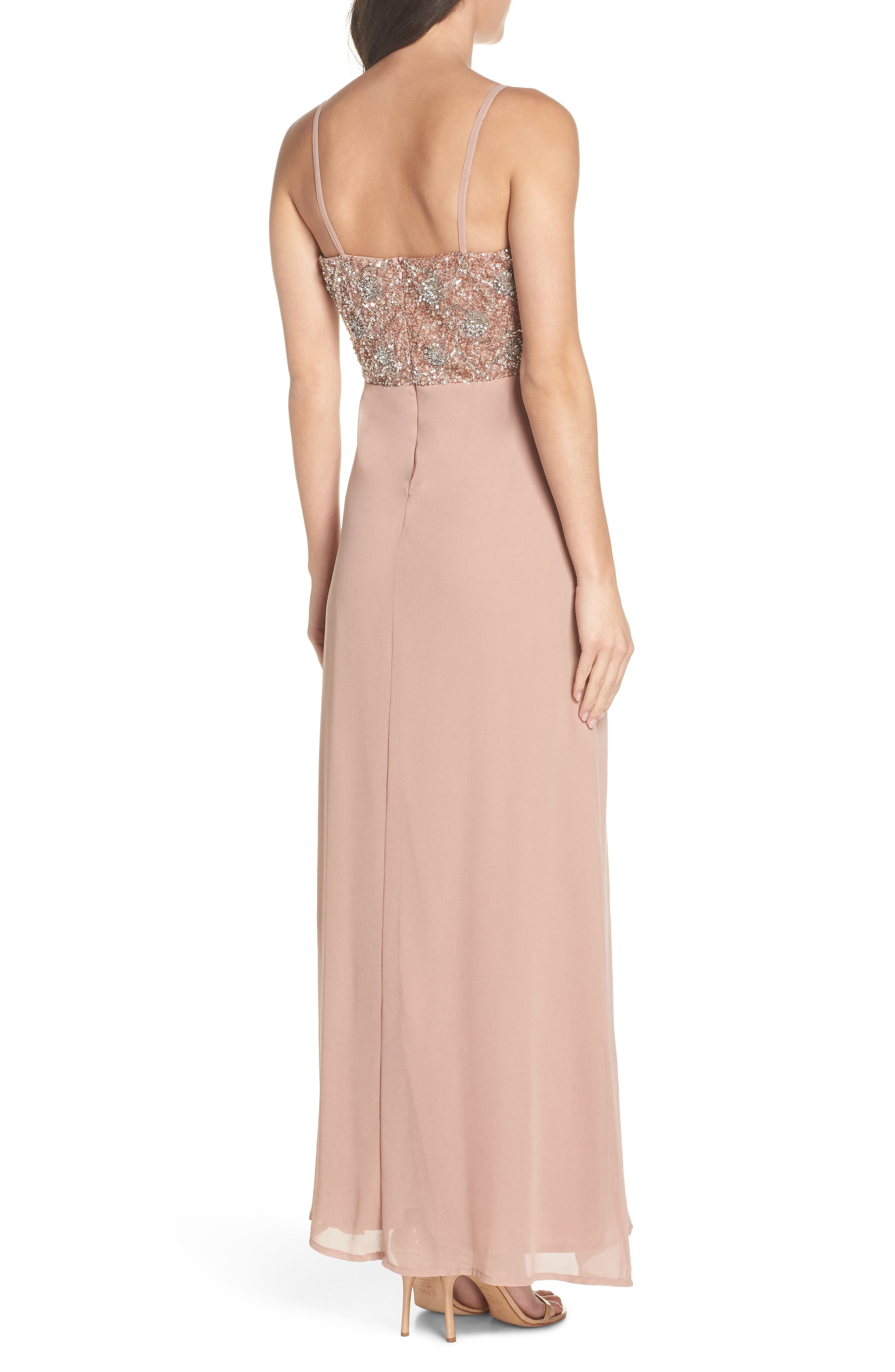 Embellished Chiffon Gown,                             Alternate thumbnail 2, color,                             DUSTY PINK