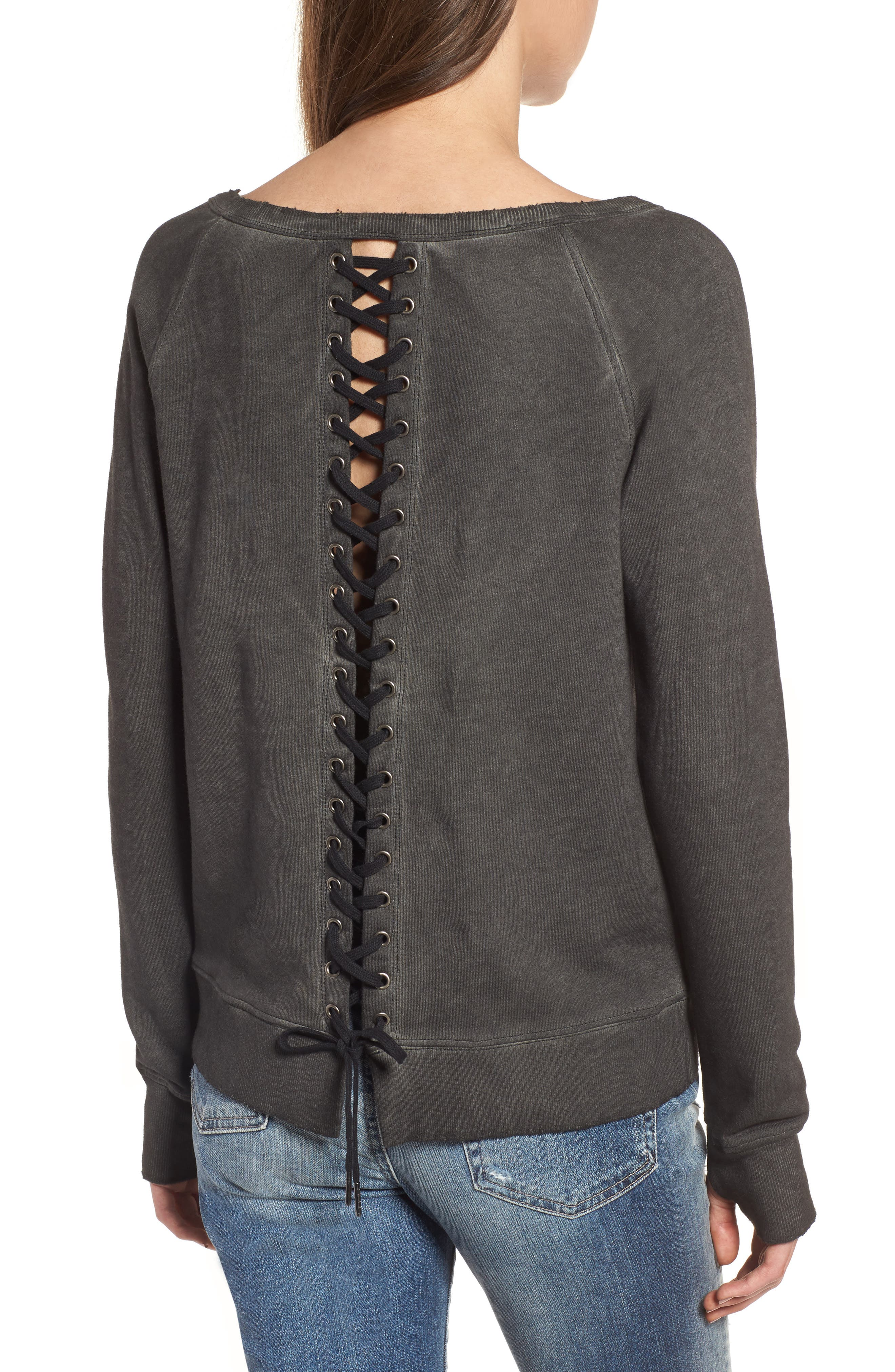 Lace-Up Sweatshirt,                             Alternate thumbnail 2, color,                             006