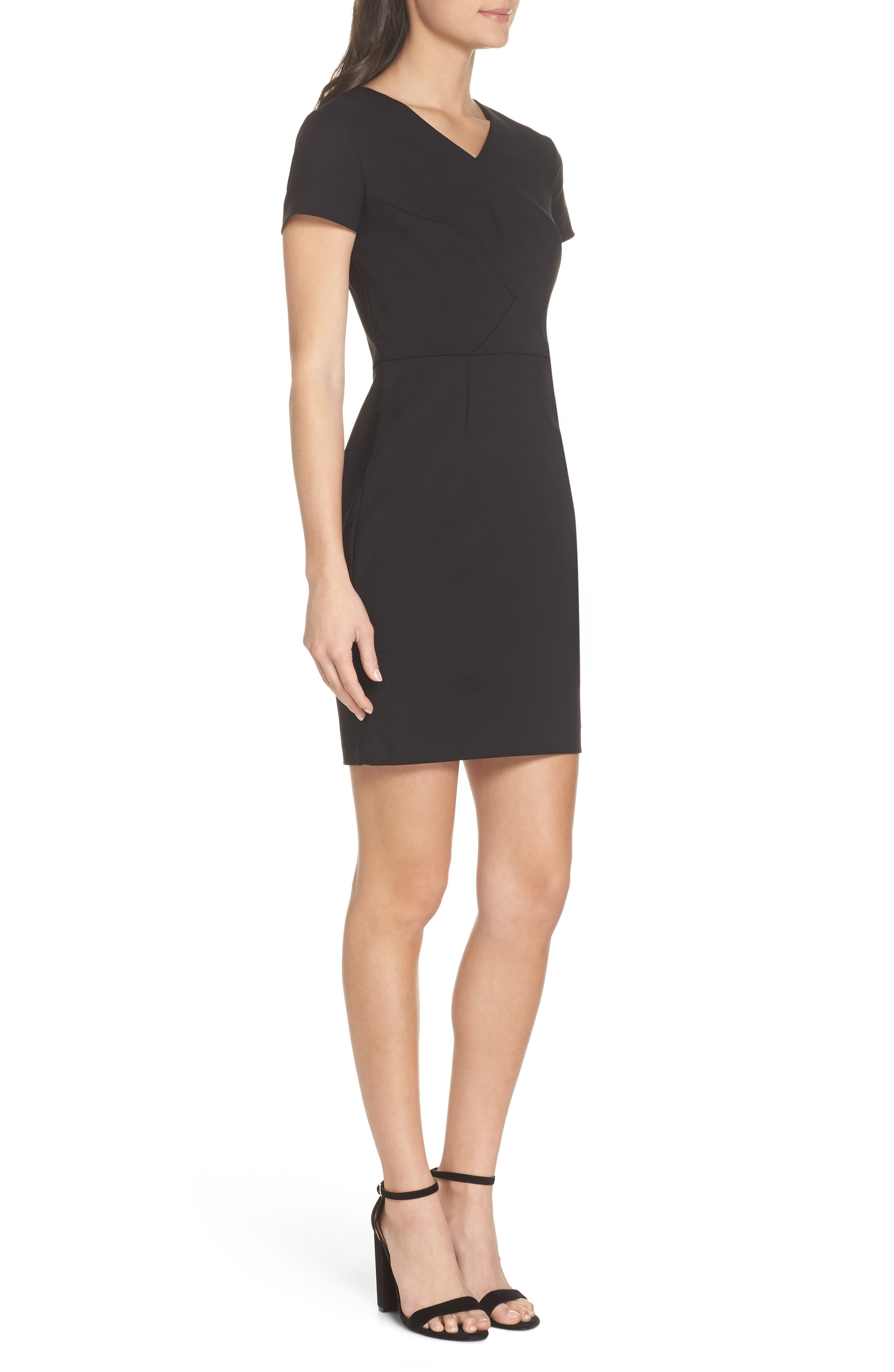Glass Stretch Sheath Dress,                             Alternate thumbnail 3, color,                             001