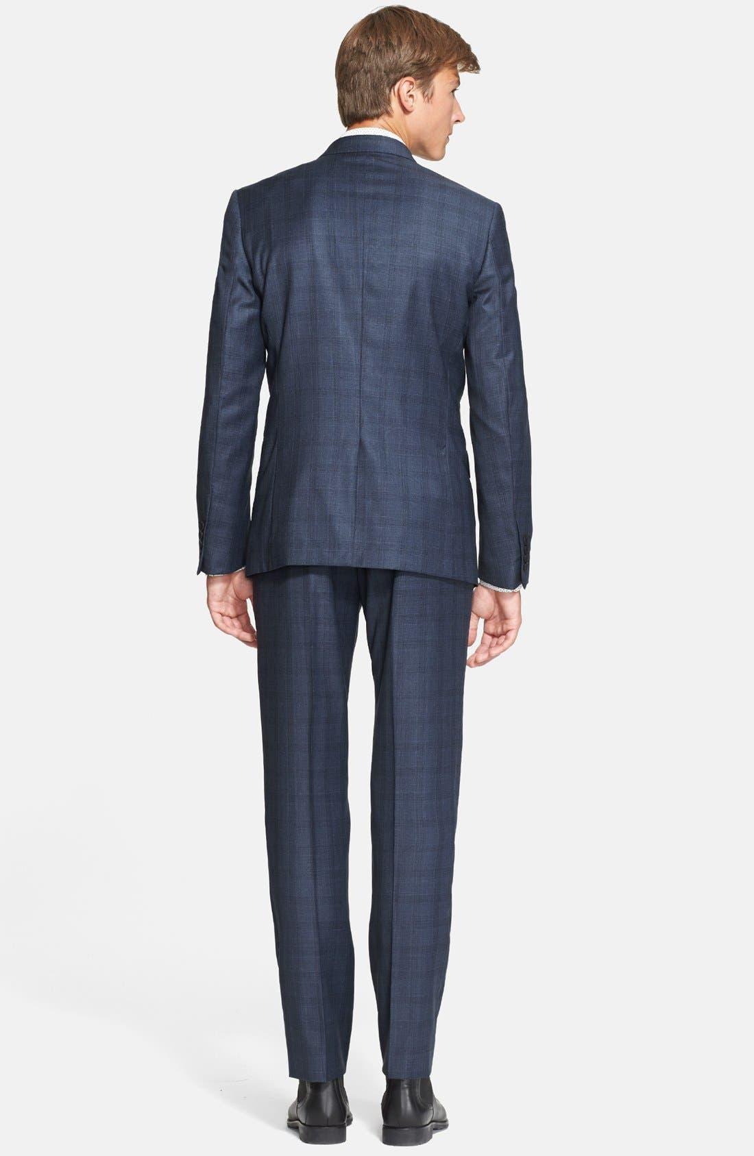 'Byard' Trim Fit Plaid Suit,                             Alternate thumbnail 4, color,                             414