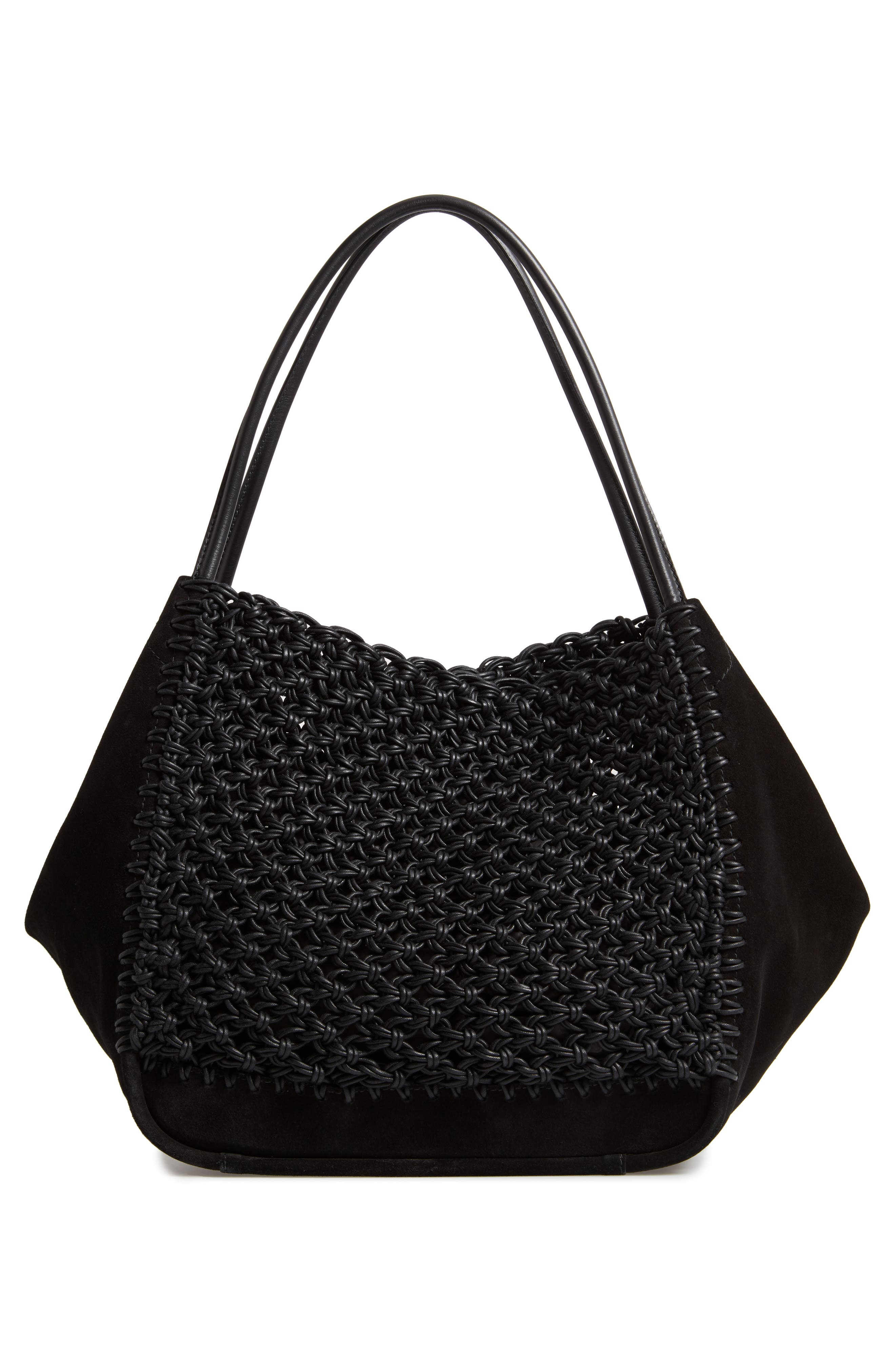 Large Macramé Tote,                             Alternate thumbnail 3, color,                             BLACK/ BLACK