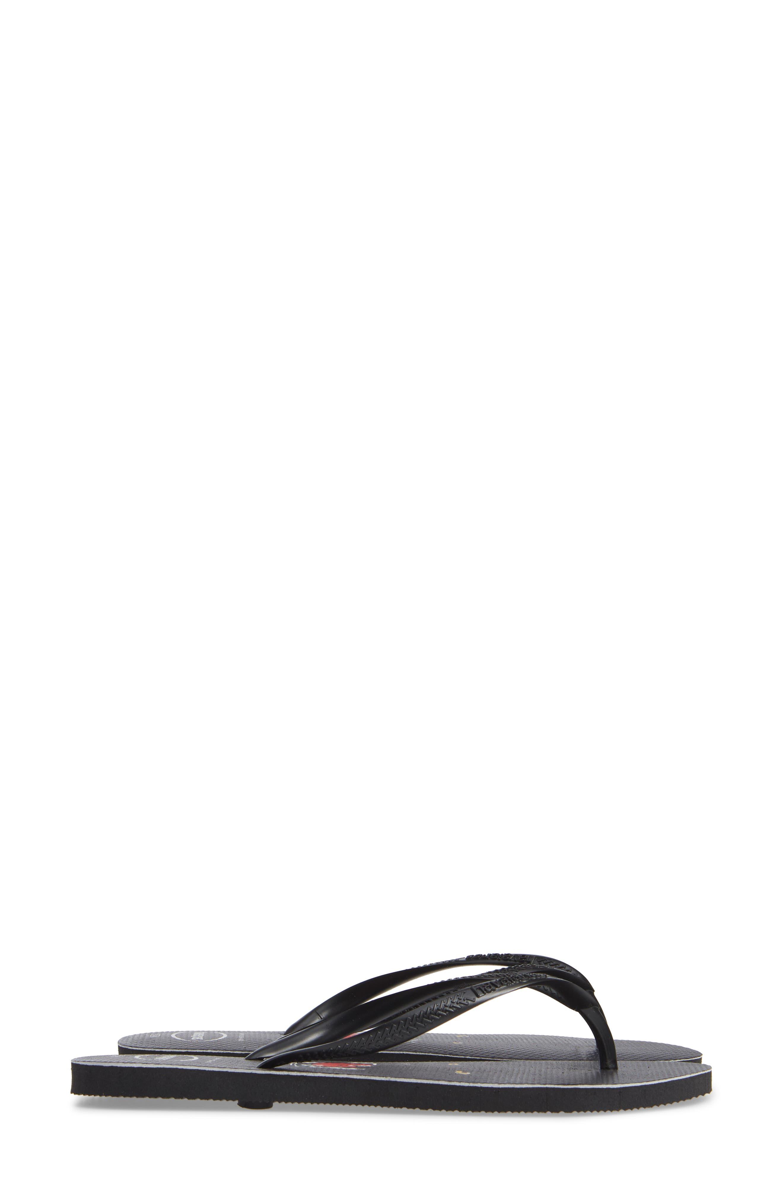 Slim Wild Flip Flop,                             Alternate thumbnail 4, color,                             BLACK/ BLACK