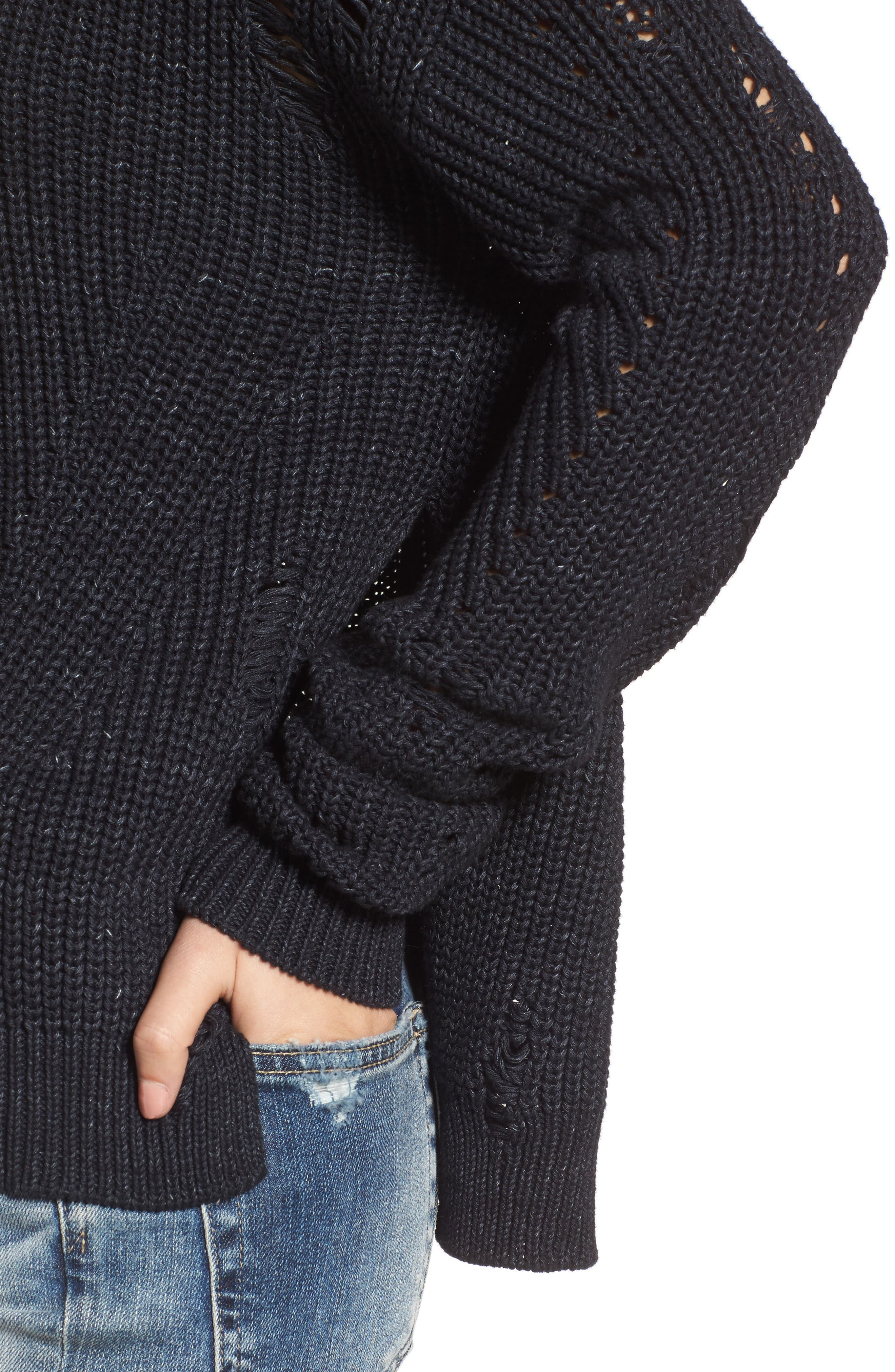 Finn Distressed Sweater,                             Alternate thumbnail 4, color,                             SPECKLED MIDNIGHT SKY