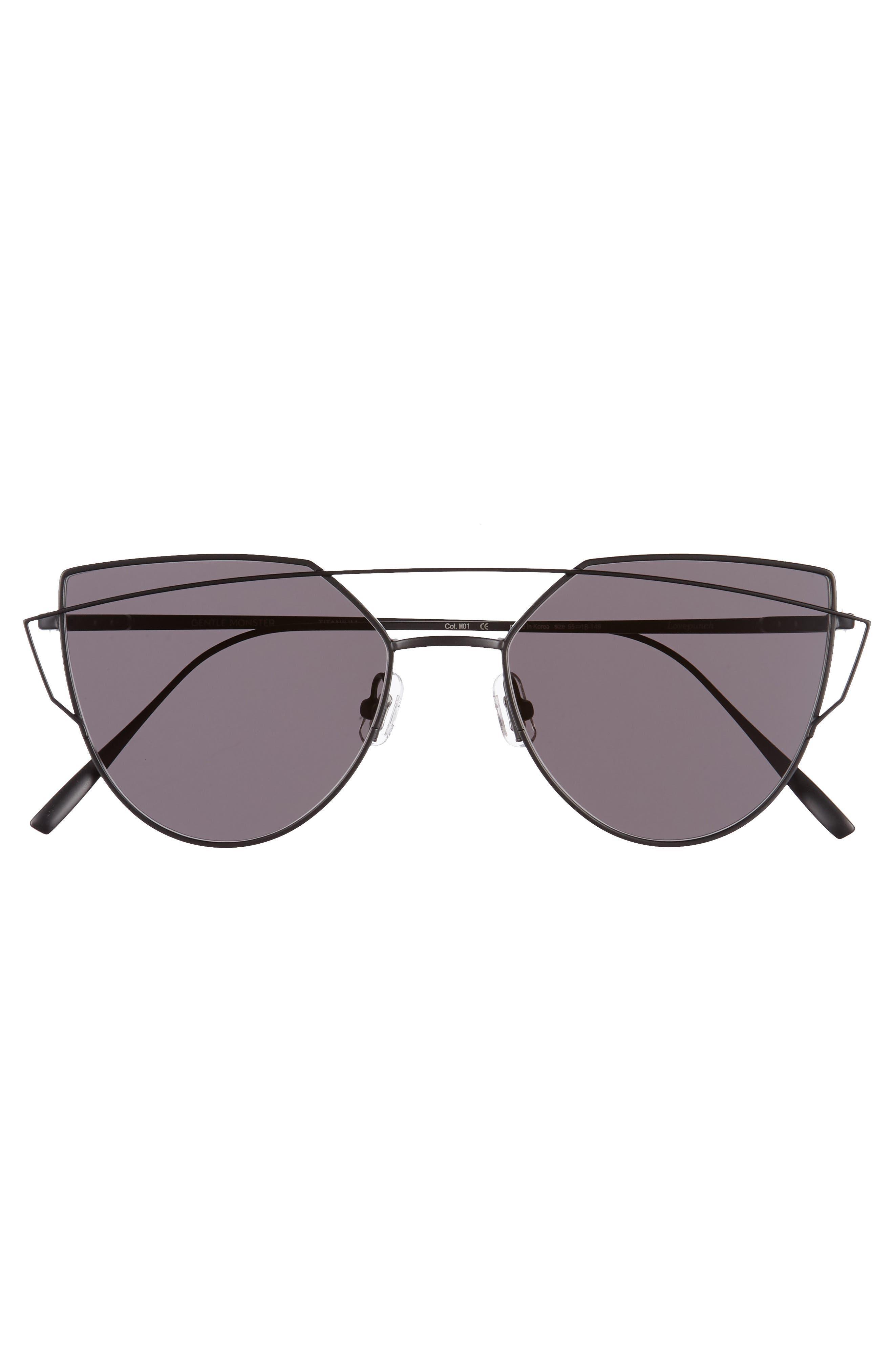 Love Punch 55mm Titanium Aviator Sunglasses,                             Alternate thumbnail 3, color,                             001