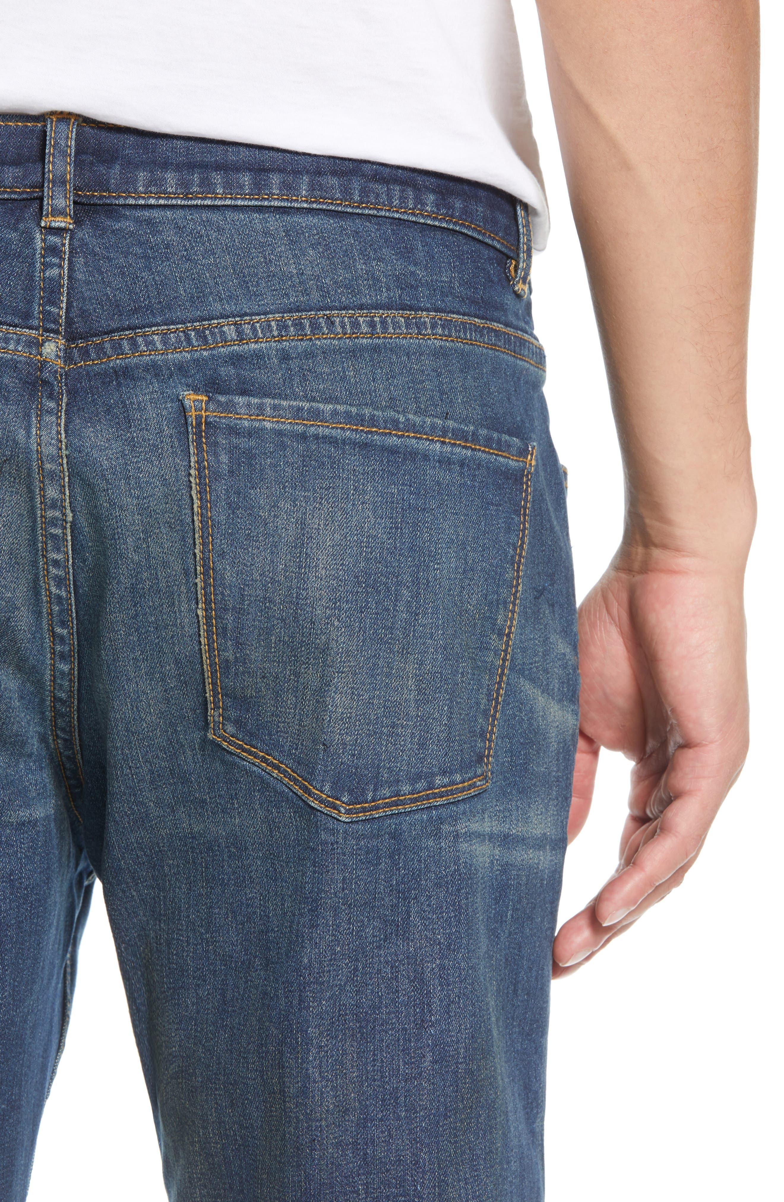 TREASURE & BOND,                             Slim Fit Jeans,                             Alternate thumbnail 4, color,                             BLUE MED VINTAGE WASH