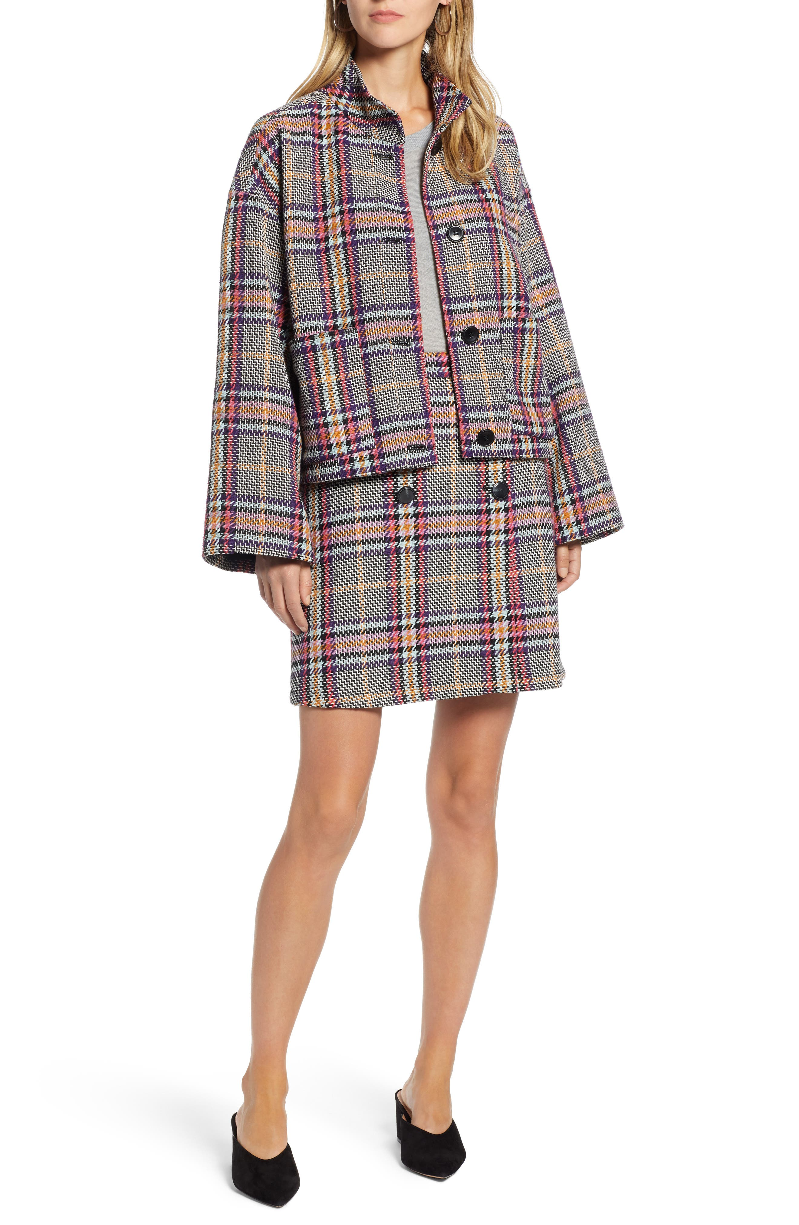 Button Detail Plaid Skirt,                             Alternate thumbnail 7, color,                             530