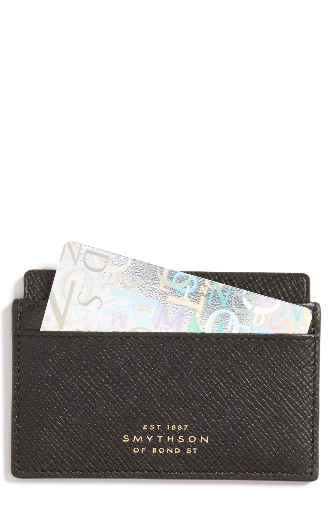 'Panama' Leather Card Case,                         Main,                         color, 001