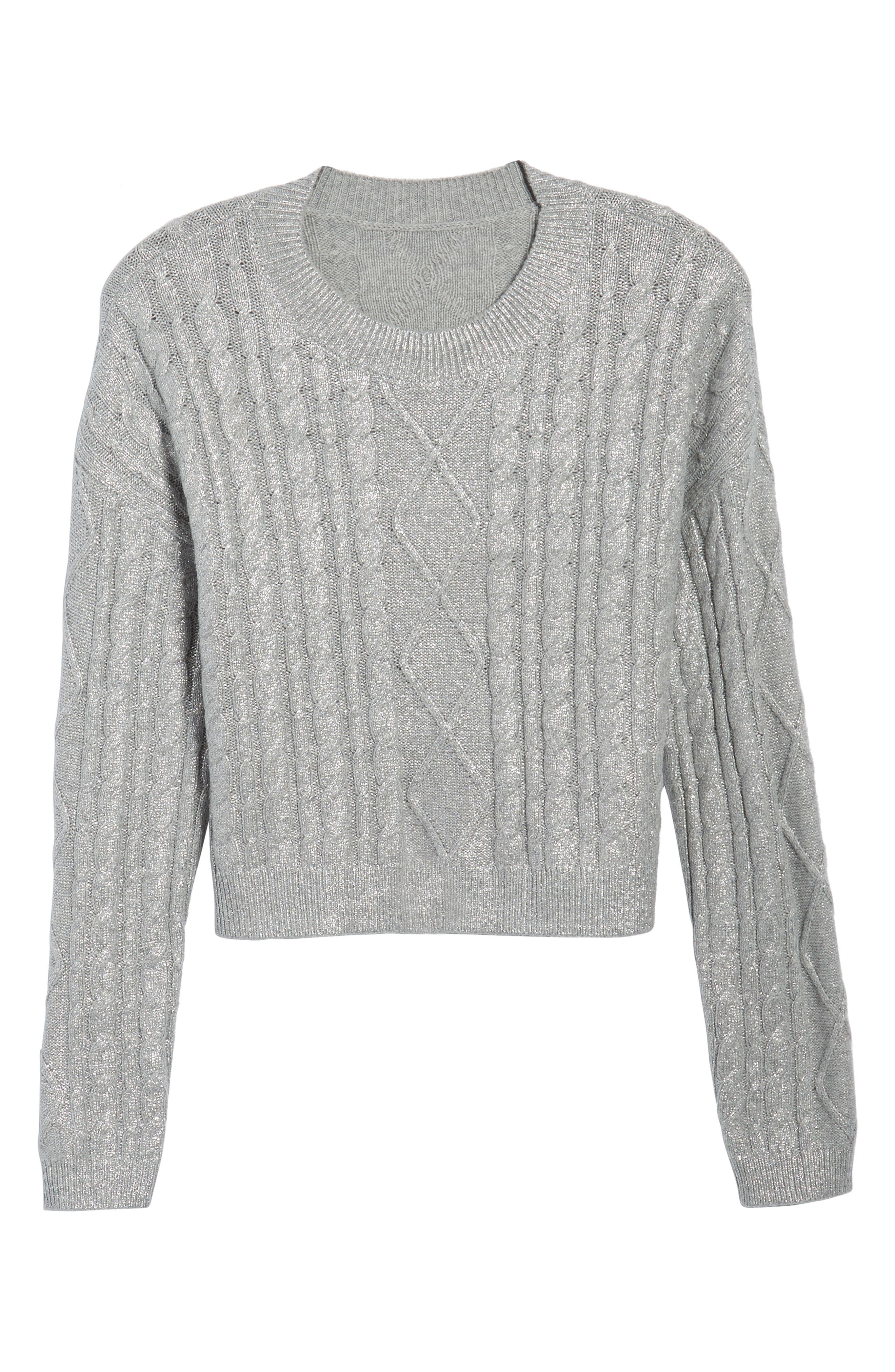 Metallic Cable Knit Sweater,                             Alternate thumbnail 6, color,                             030