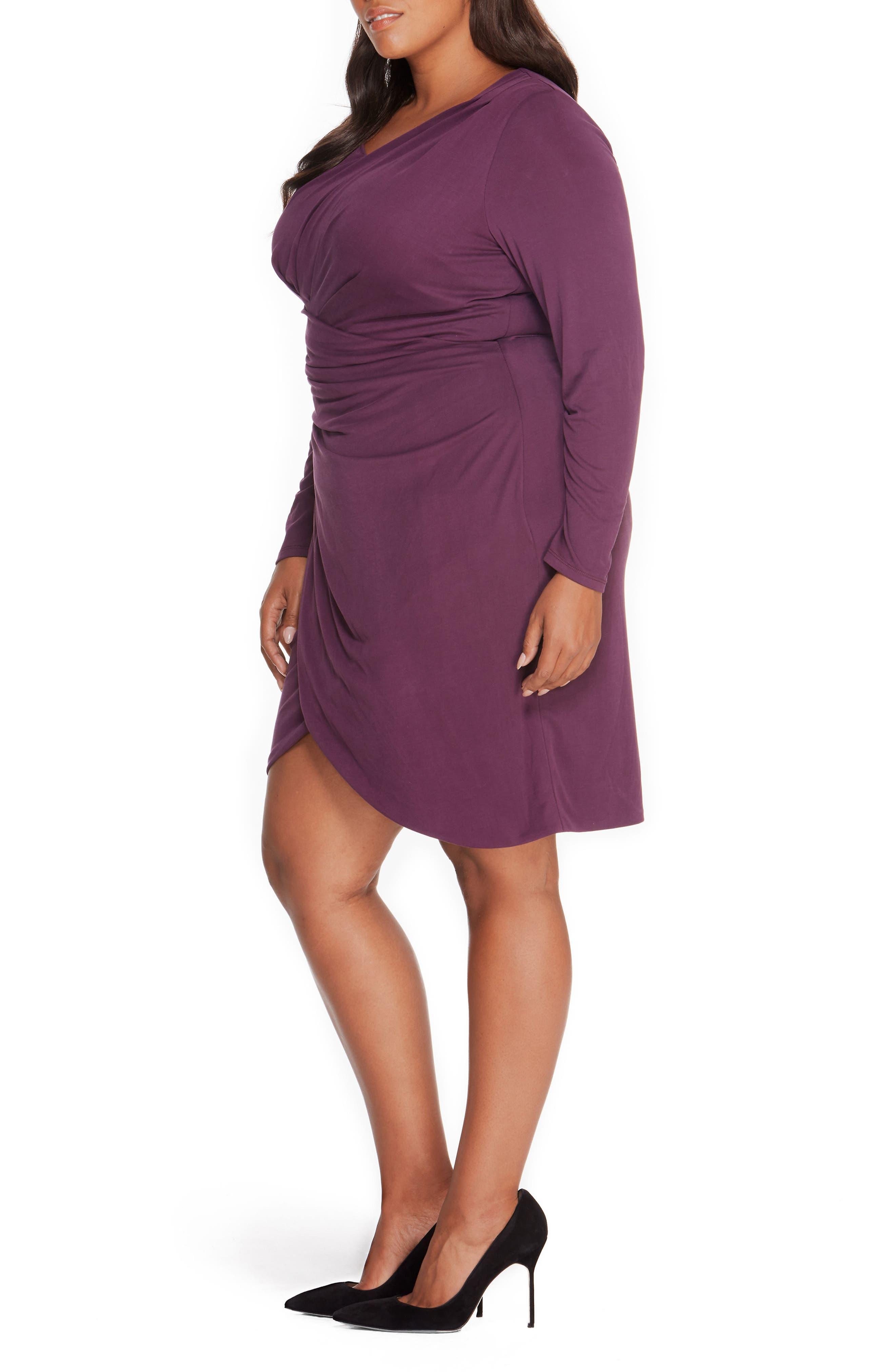 Pleated Faux Wrap Dress,                             Alternate thumbnail 6, color,