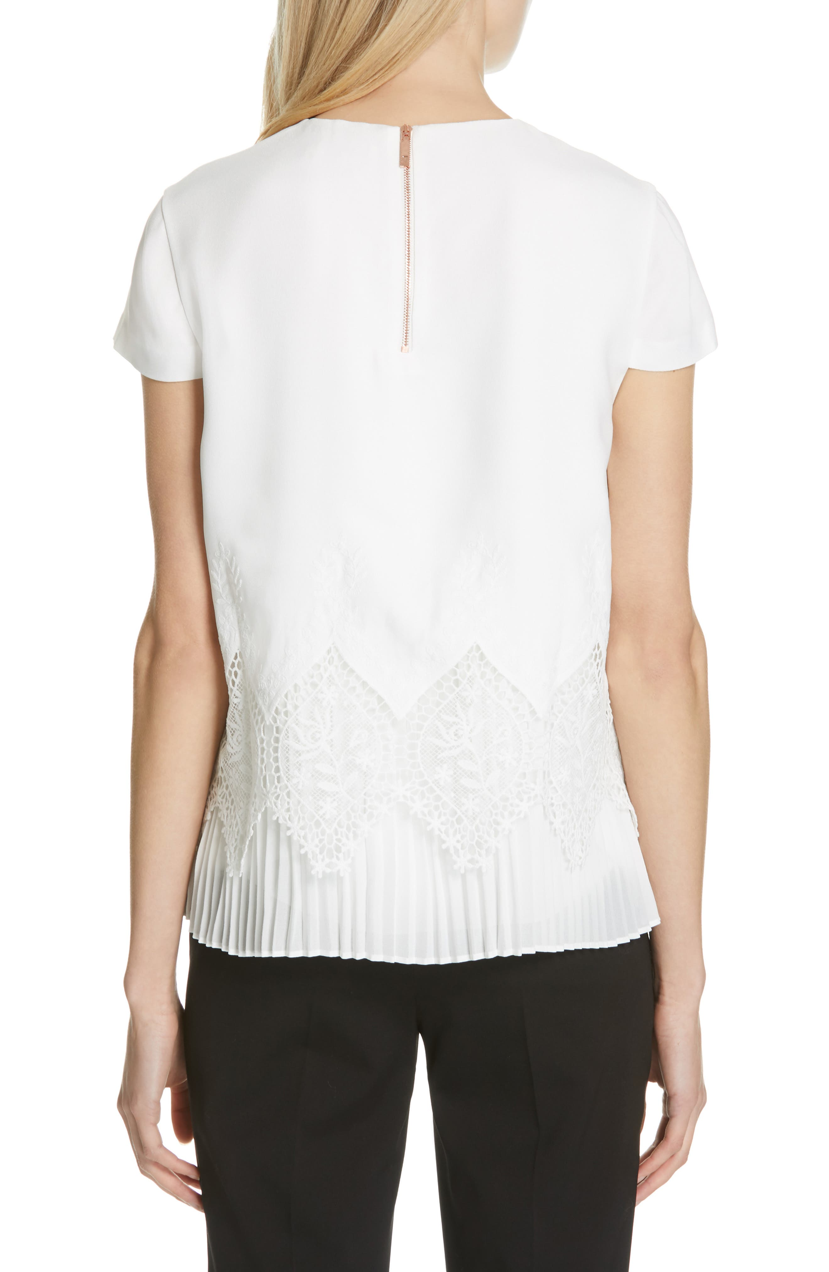 Nardiya Lace & Pleat Hem Top,                             Alternate thumbnail 2, color,                             110