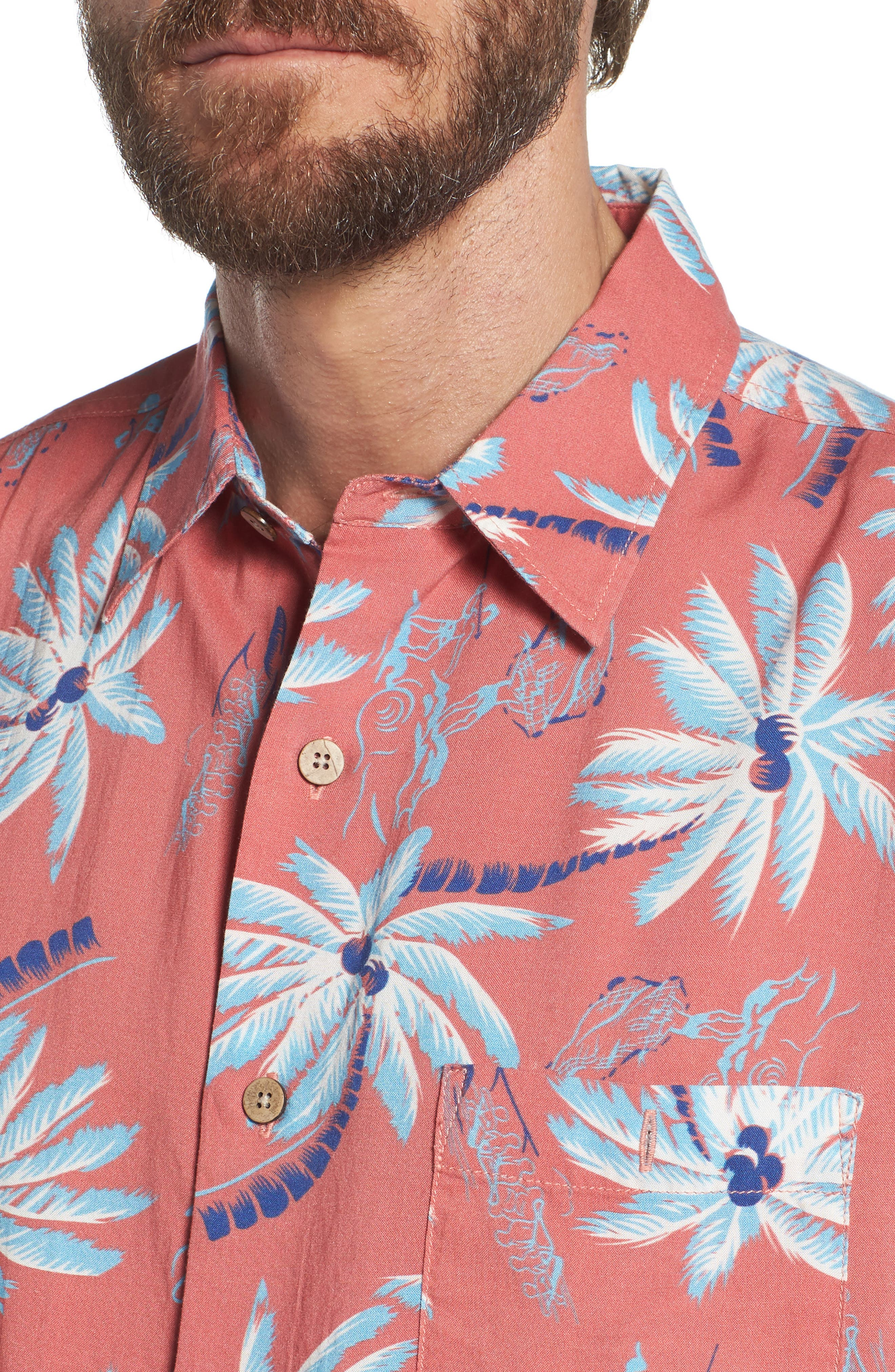 Hawaiian Print Sport Shirt,                             Alternate thumbnail 4, color,                             RED PALM HAWAIIAN