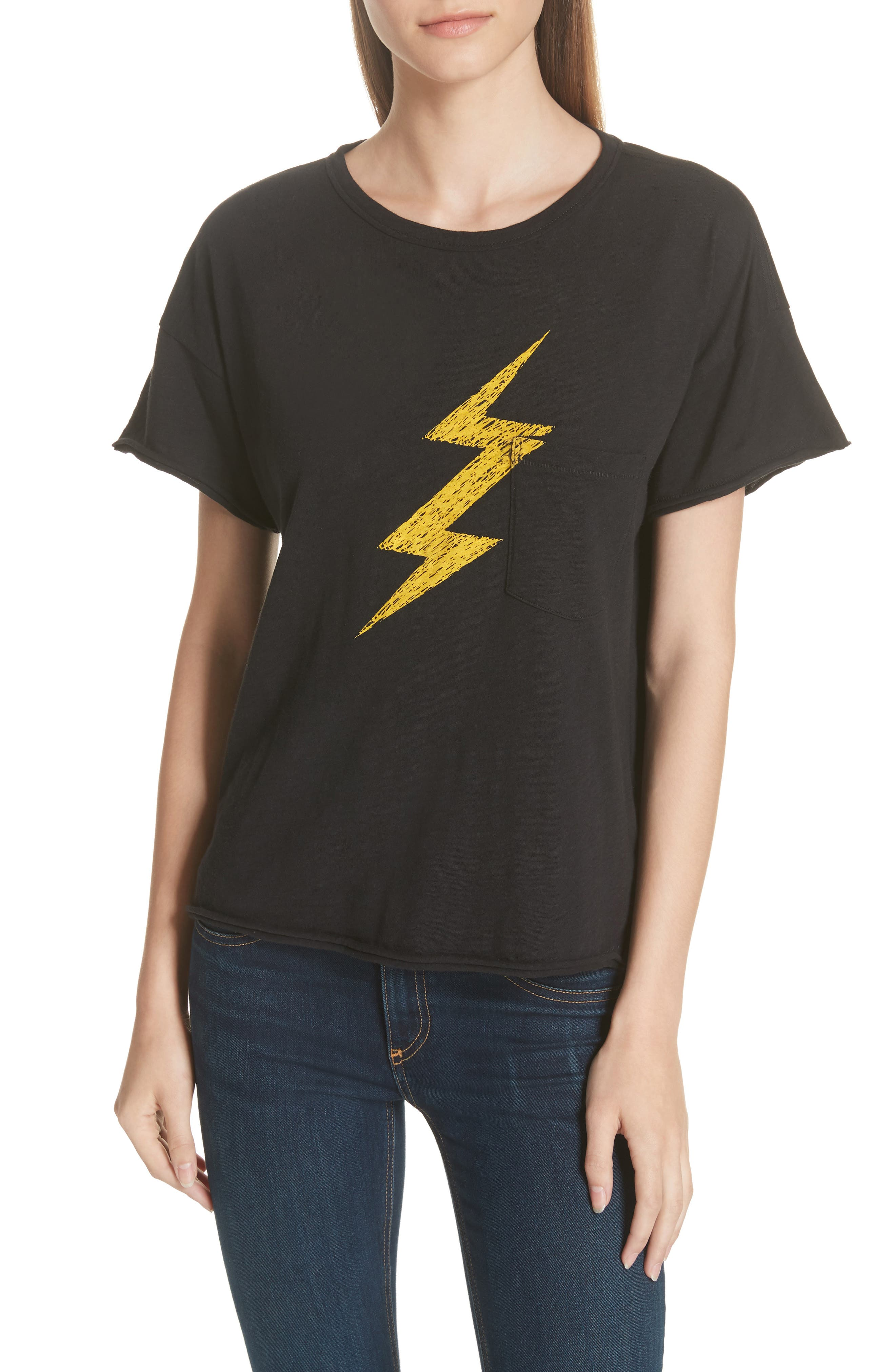 Lightning Vintage Tee,                         Main,                         color, BLACK