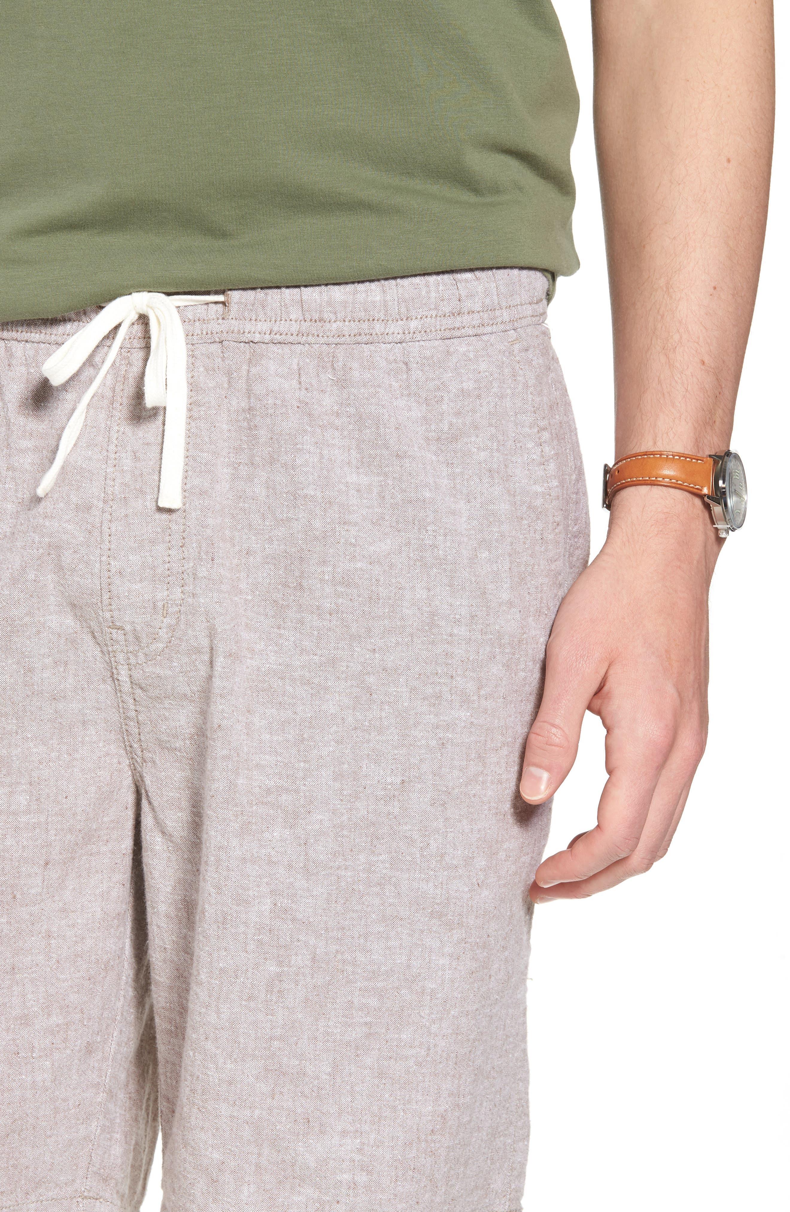 Drawstring Linen Blend Shorts,                             Alternate thumbnail 4, color,                             235