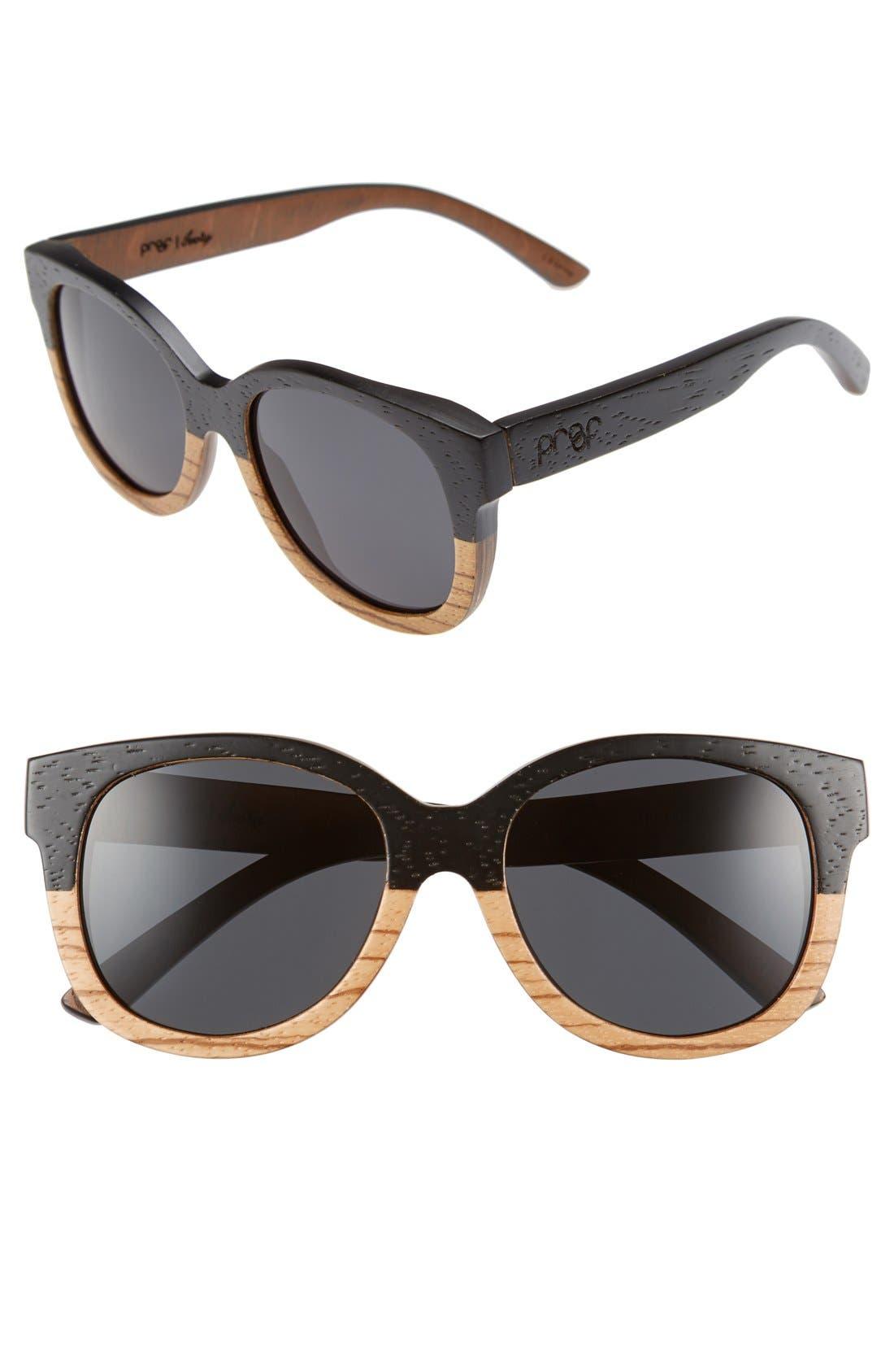 'Ivory Wood' 50mm Polarized Sunglasses,                         Main,                         color, 001