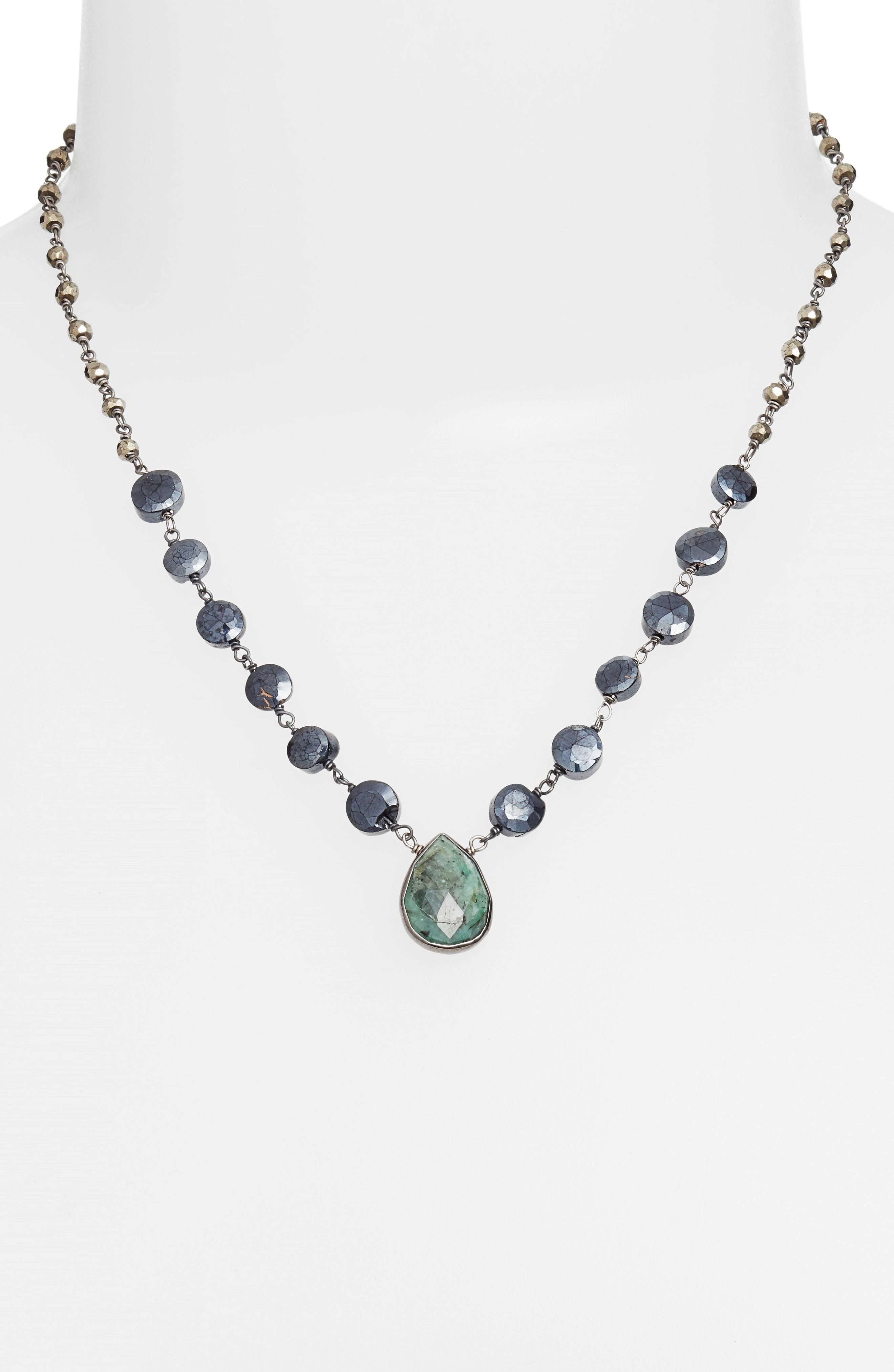 Ara Collar Necklace,                             Alternate thumbnail 2, color,                             MYSTIC BLACK SPINEL/ EMERALD