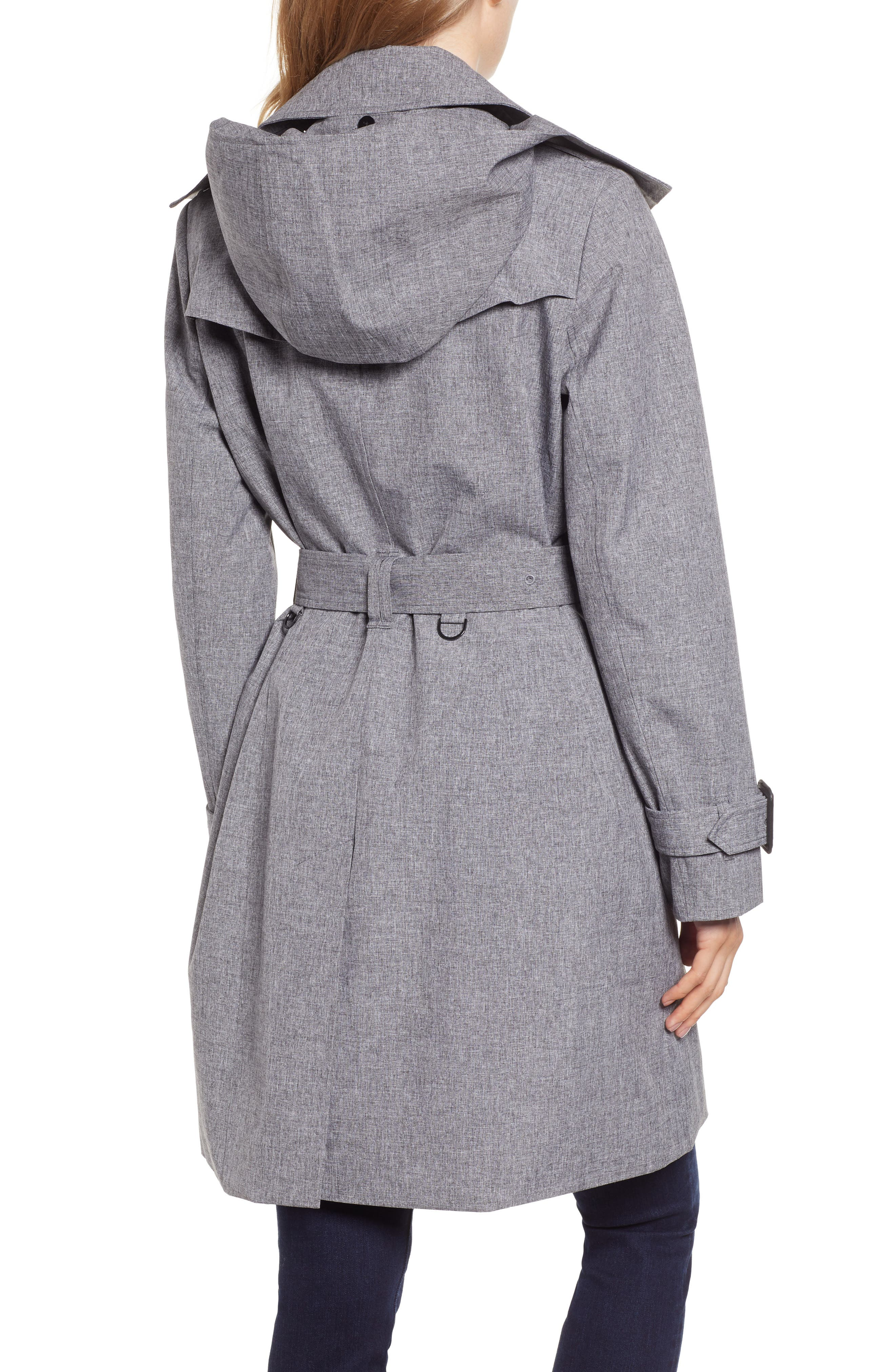 Double Breasted Trench Coat,                             Alternate thumbnail 2, color,                             CHARCOAL