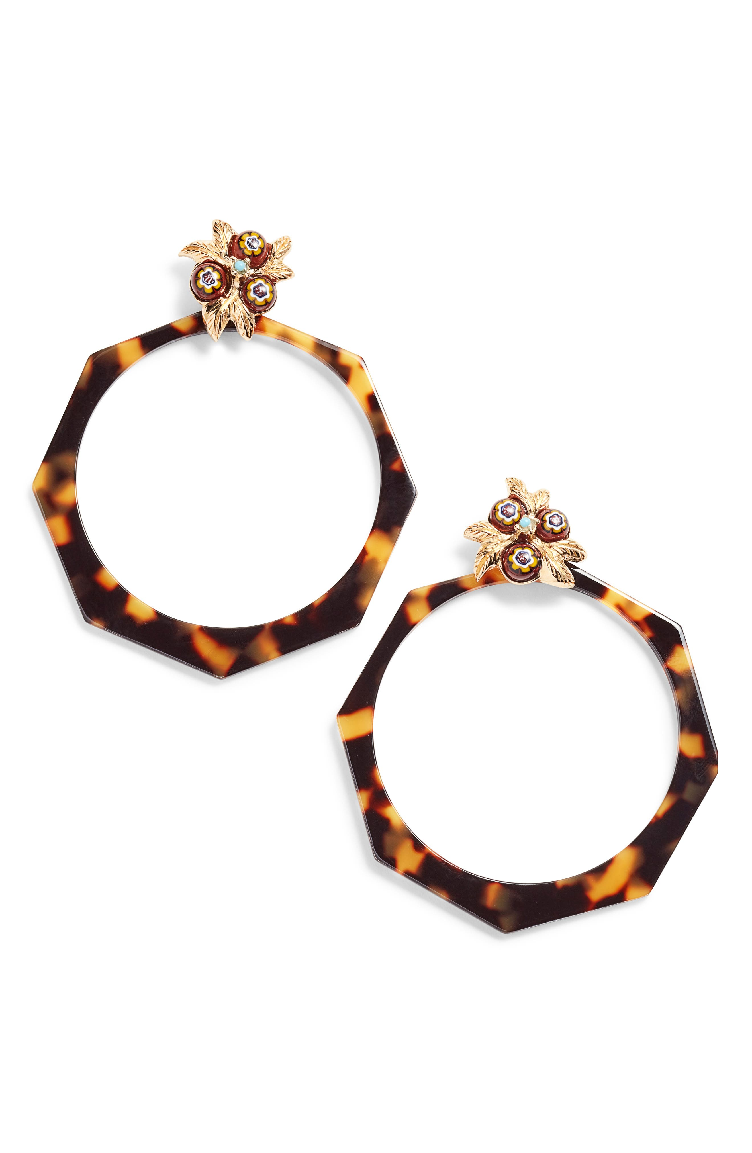 Octavia Tortiseshell Drop Hoop Earrings,                         Main,                         color, 200