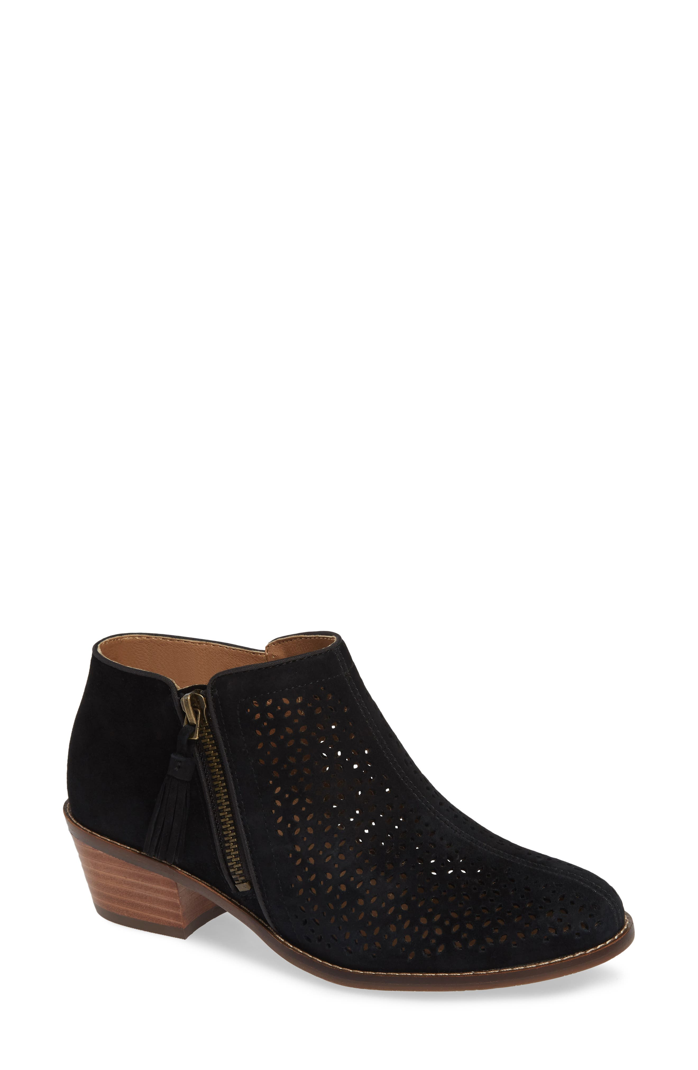 Daytona Perforated Bootie,                             Main thumbnail 1, color,                             BLACK SUEDE