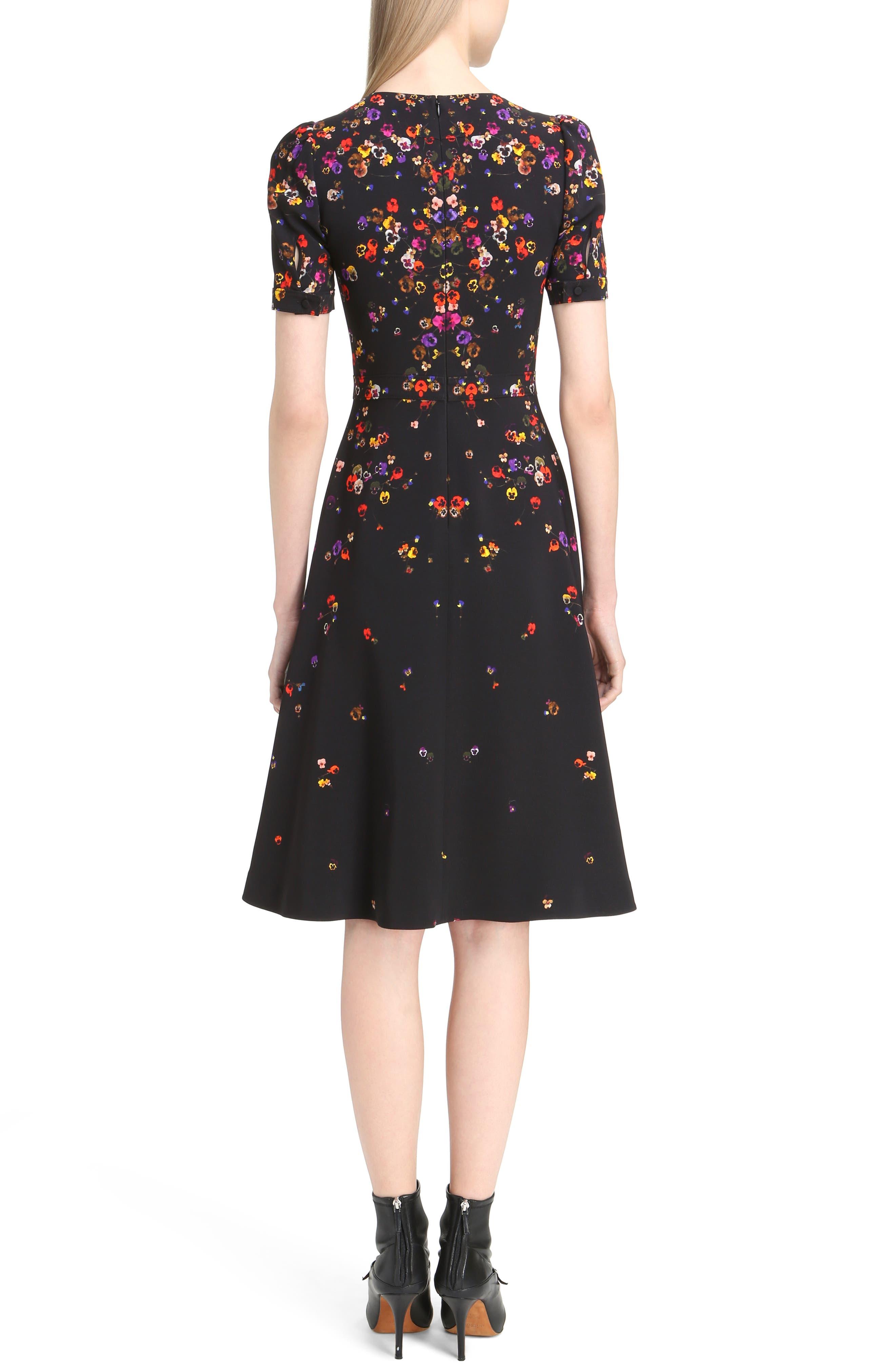 Pansy Print Stretch Cady Dress,                             Alternate thumbnail 2, color,                             001