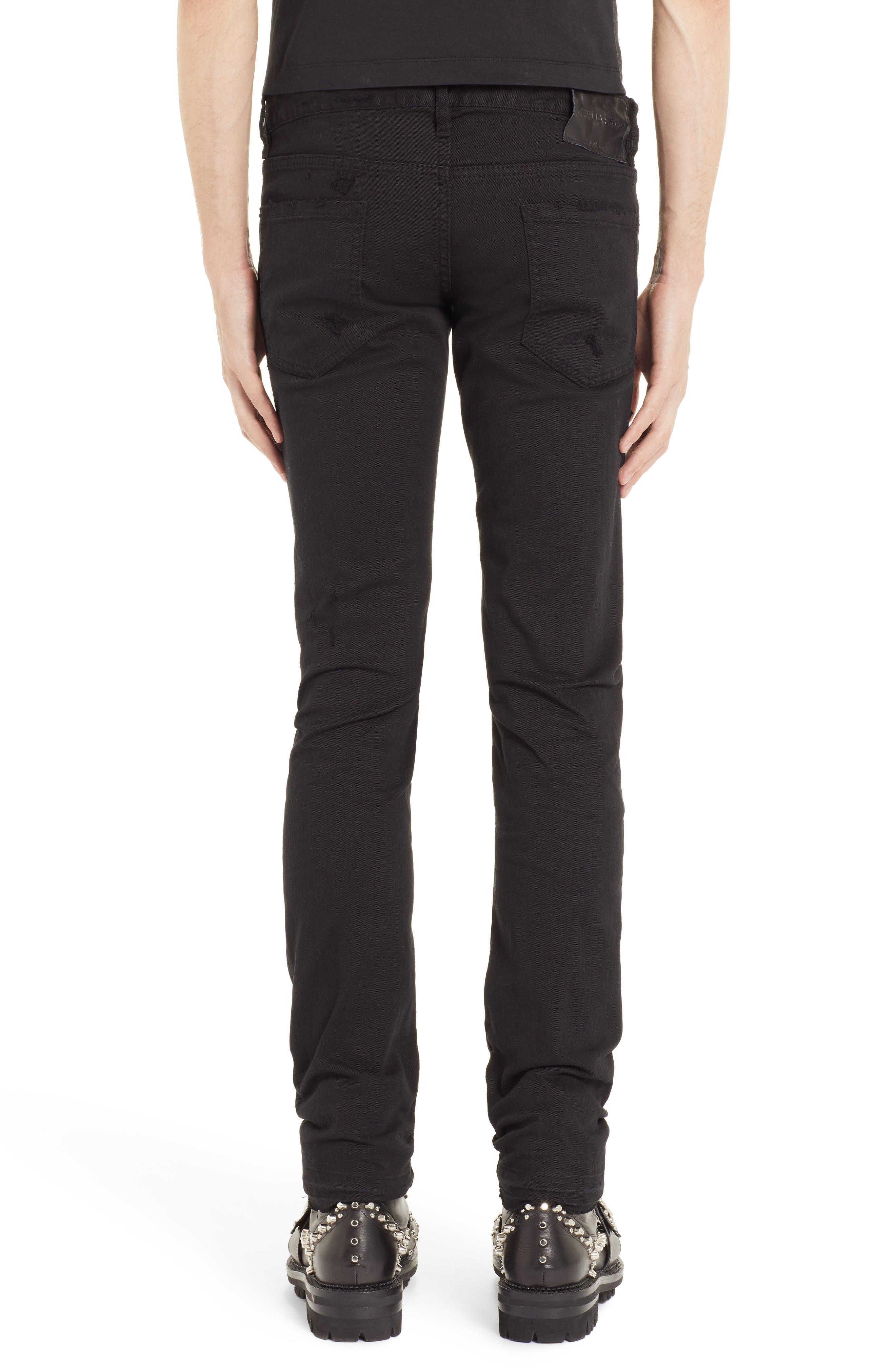 Destroyed Slim Fit Jeans,                             Alternate thumbnail 2, color,                             BLACK