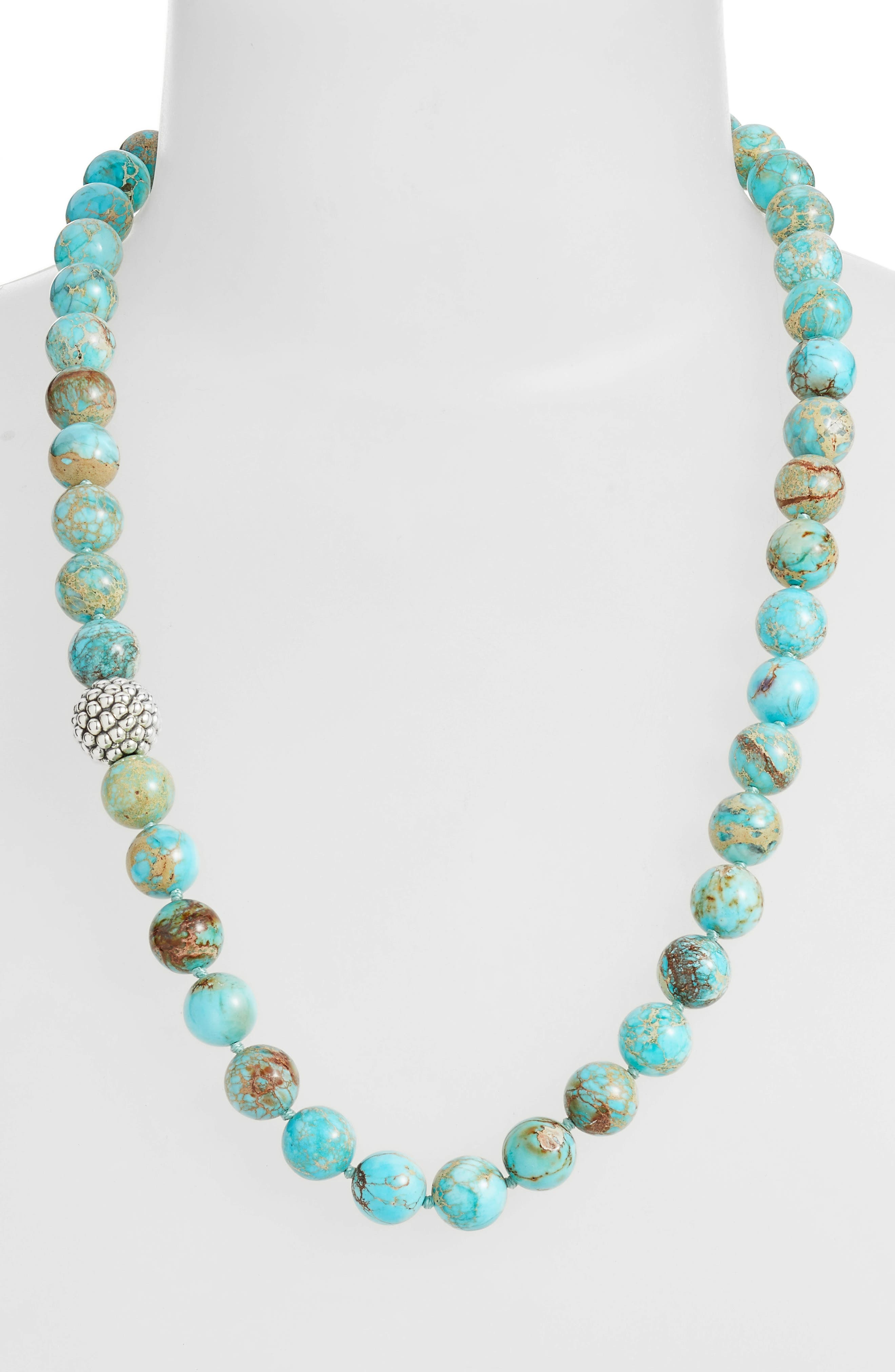 Silver Accent Beaded Necklace,                             Alternate thumbnail 4, color,