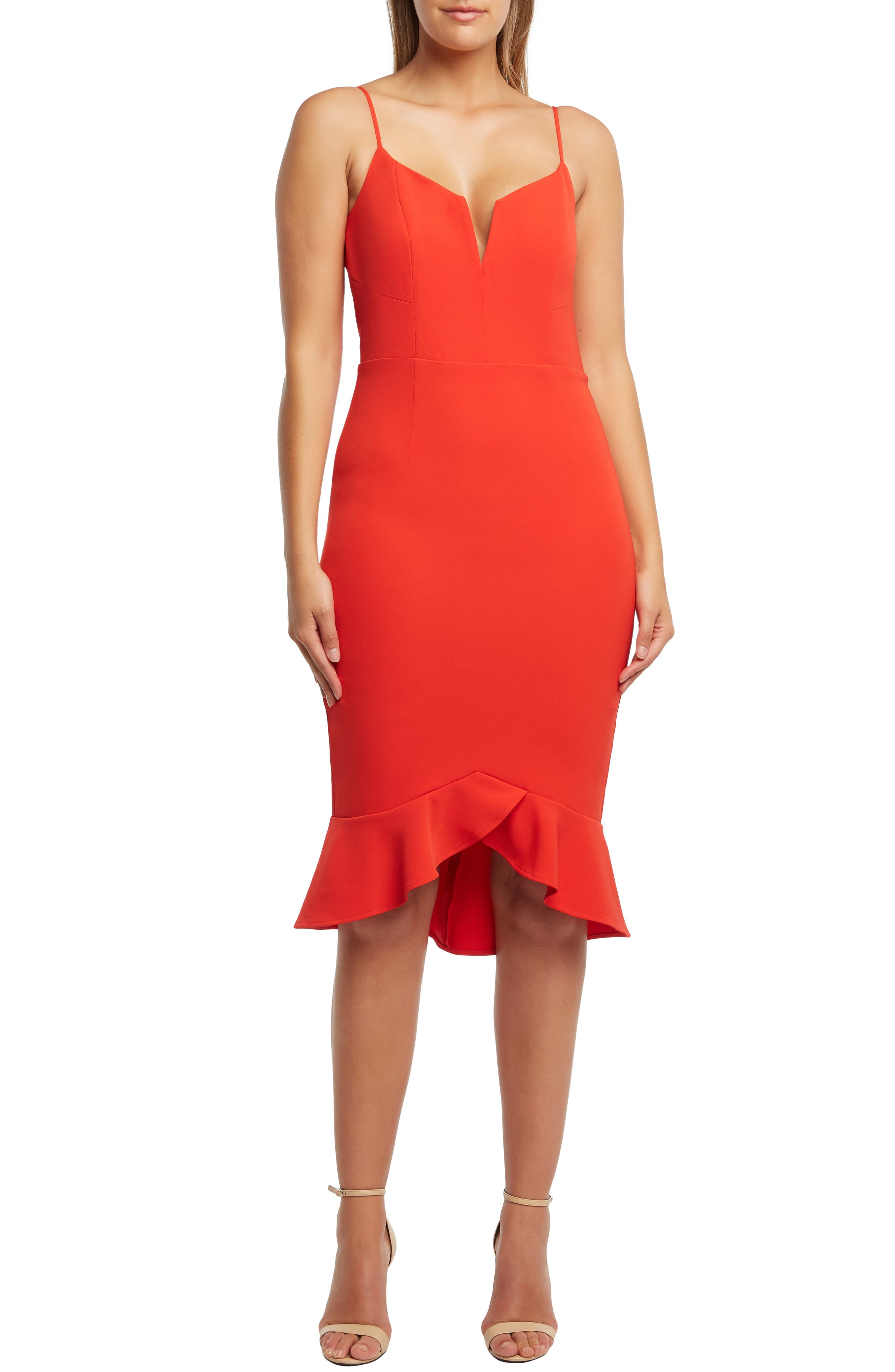 Bardot Kristen Flounce Dress, Red