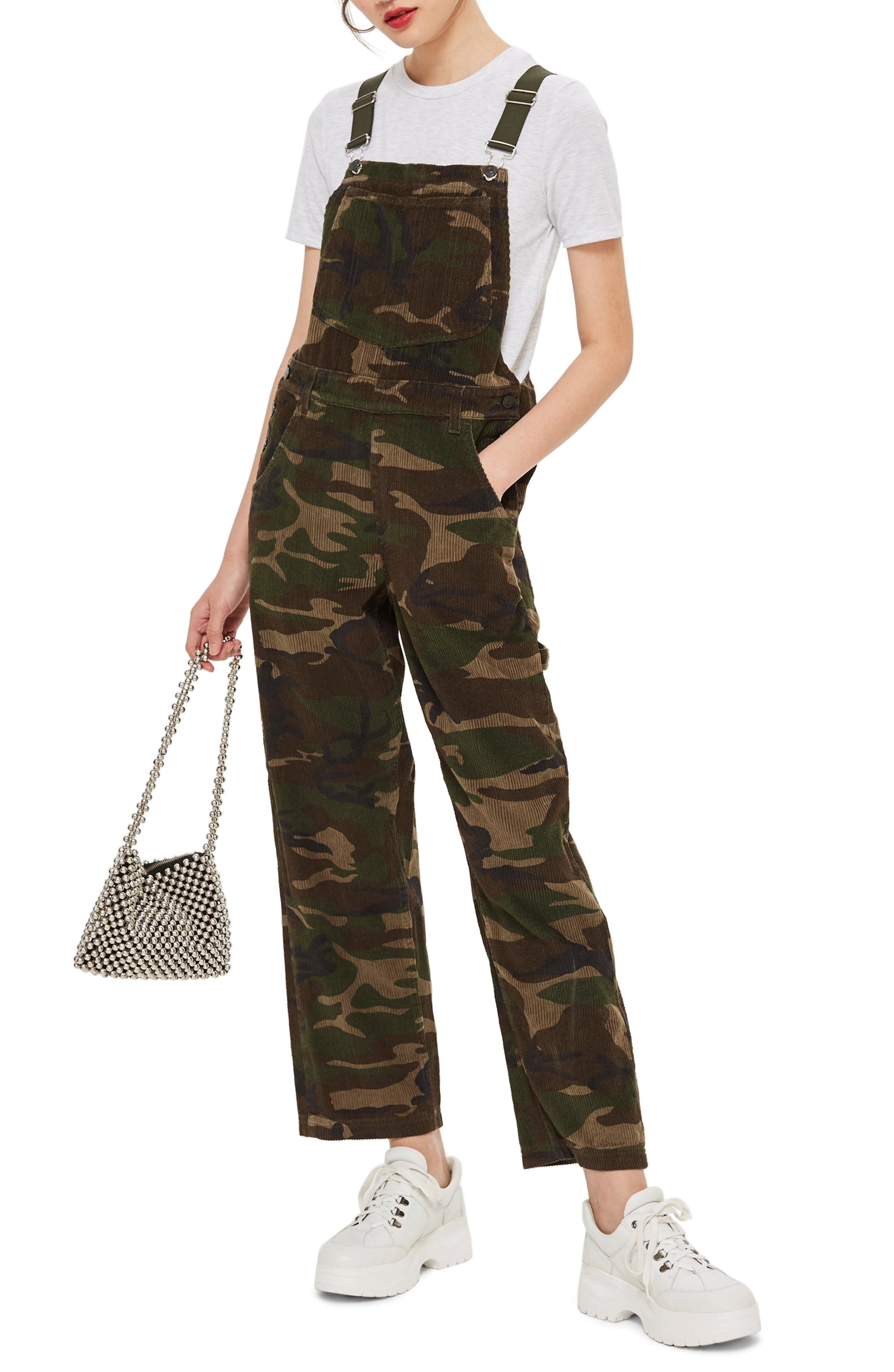 Camouflage Corduroy Overalls,                             Main thumbnail 1, color,                             OLIVE MULTI