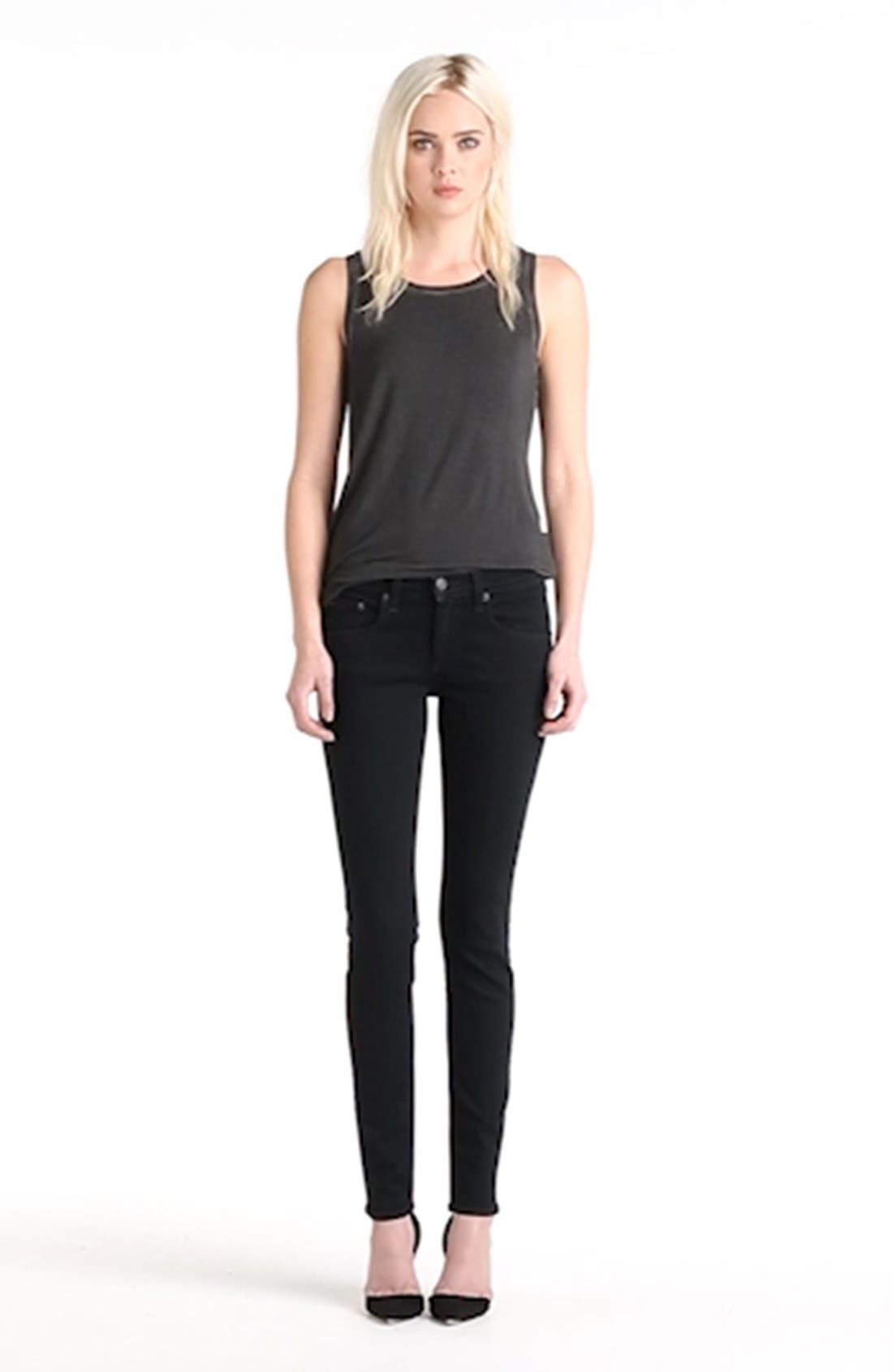'The Skinny' Stretch Jeans,                             Alternate thumbnail 9, color,                             COAL