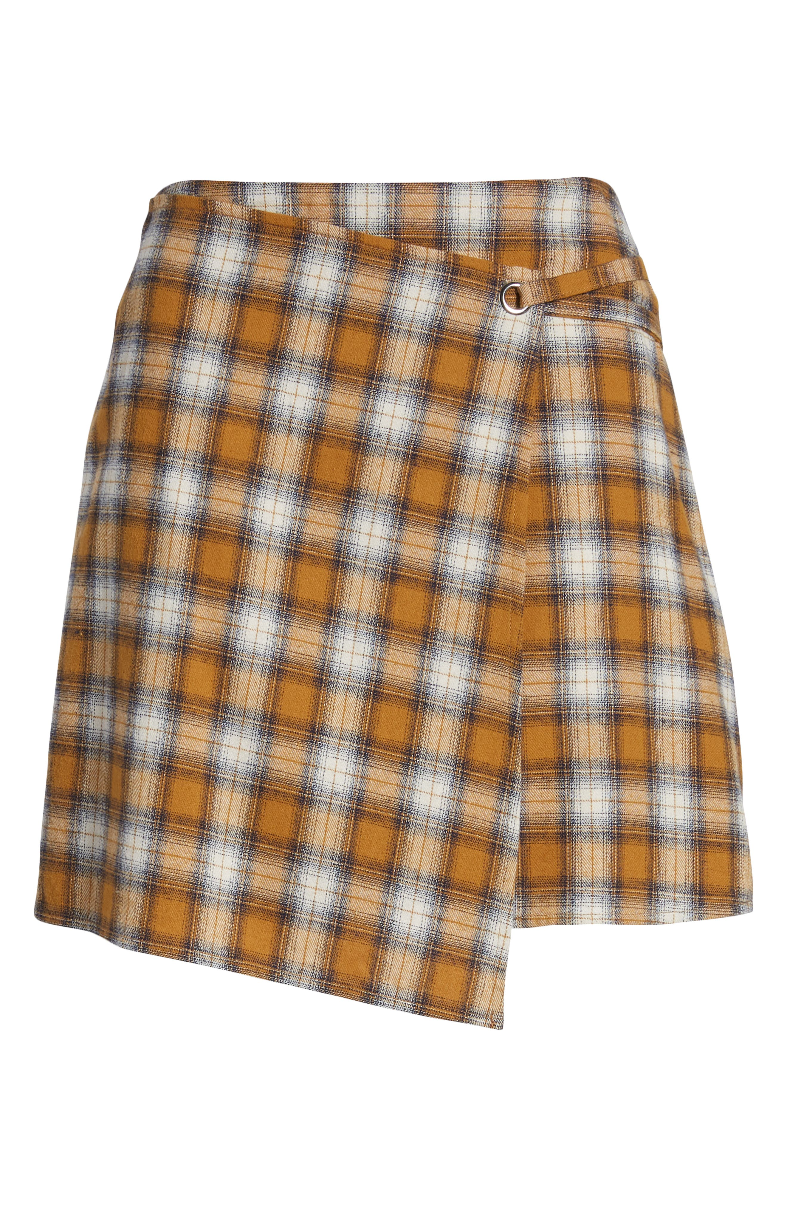 Plaid Wrap Panel Skirt,                             Alternate thumbnail 6, color,                             700