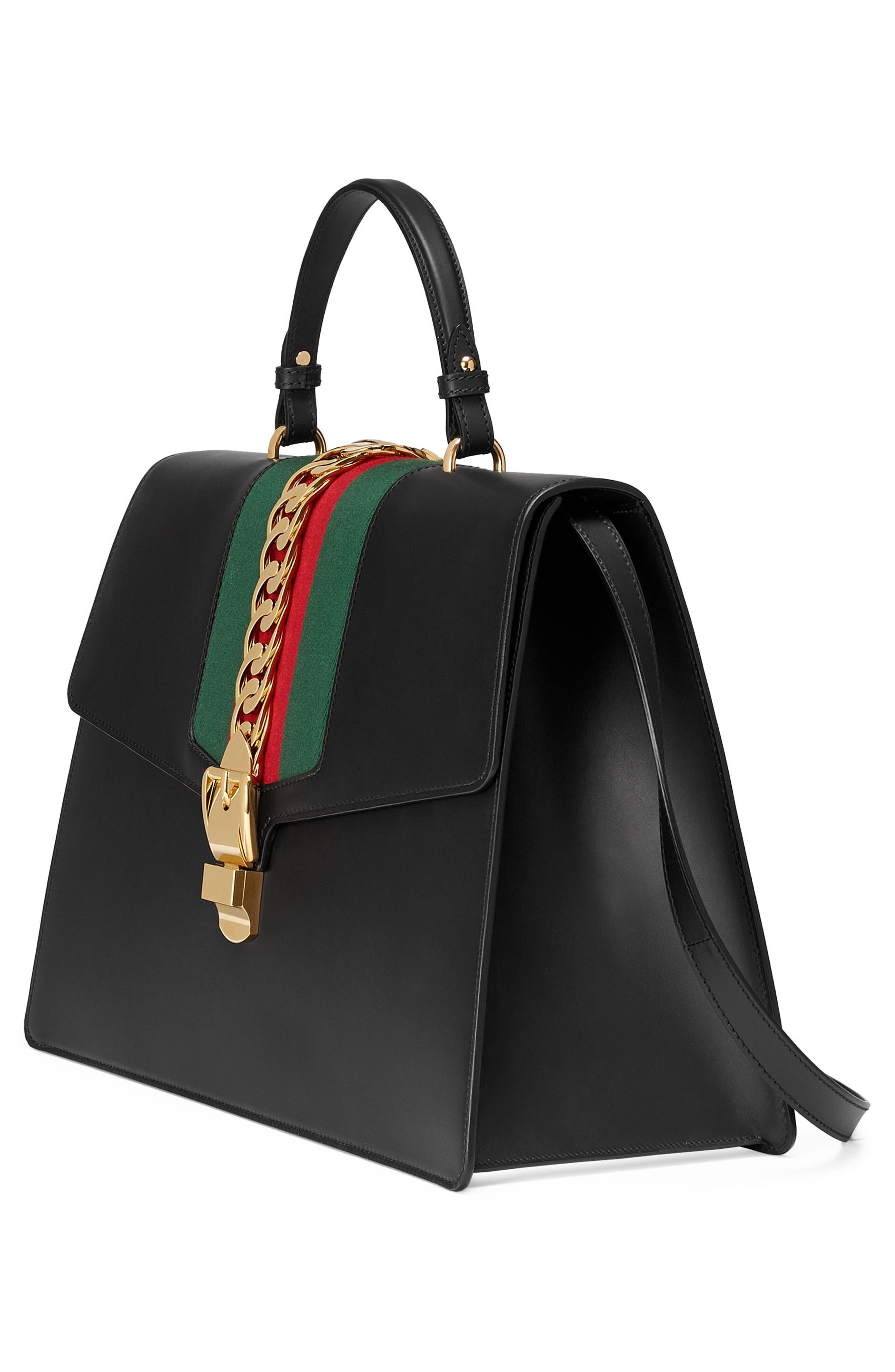 Maxi Sylvie Top Handle Leather Shoulder Bag,                             Alternate thumbnail 5, color,                             NERO/ VERT RED