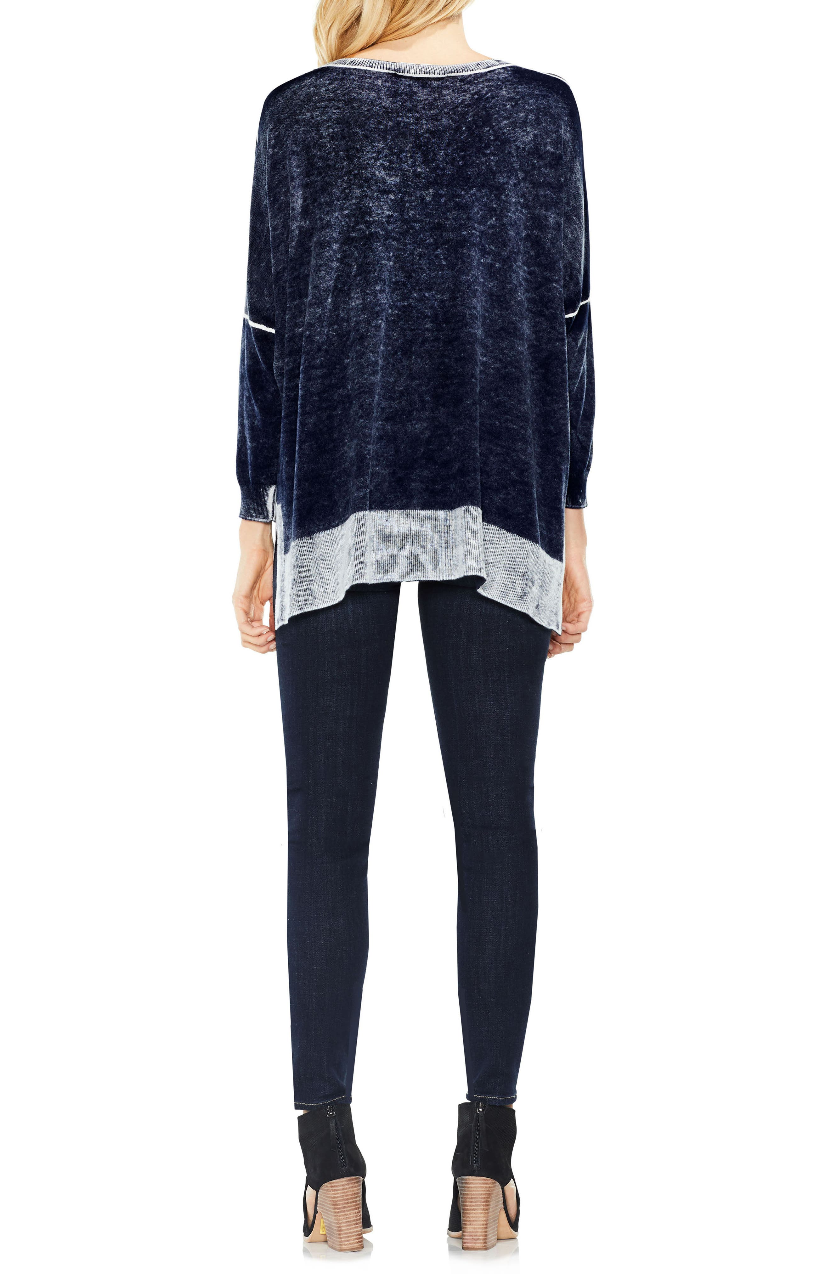 Two by Vince Camuto Inside Out Printed Sweater,                             Alternate thumbnail 3, color,                             BLUE NIGHT