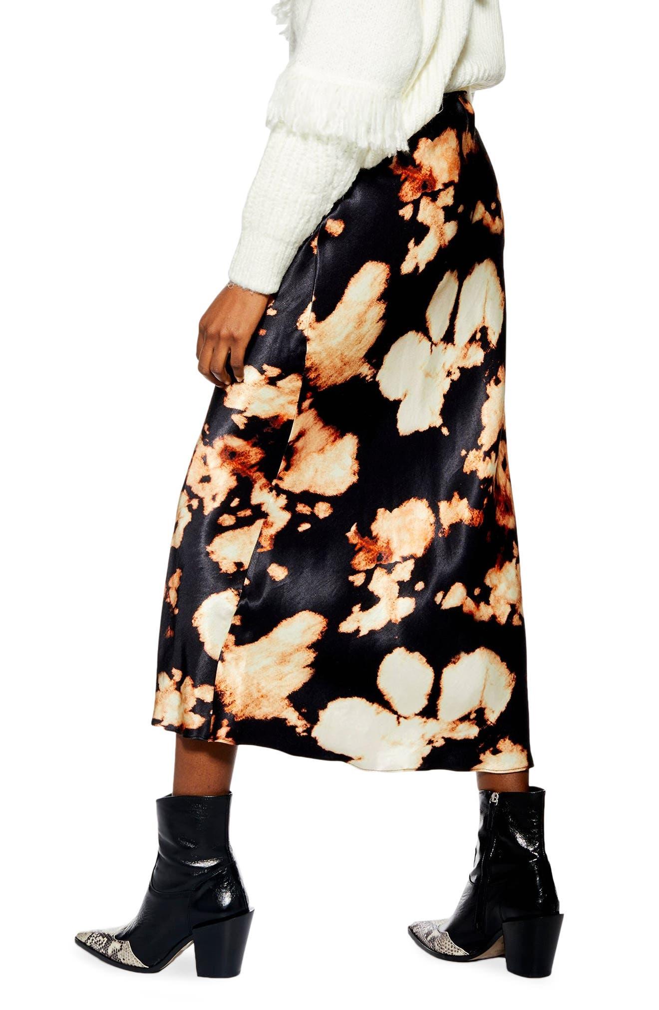 TOPSHOP,                             Tie Dye Bias Midi Skirt,                             Alternate thumbnail 2, color,                             BLACK MULTI