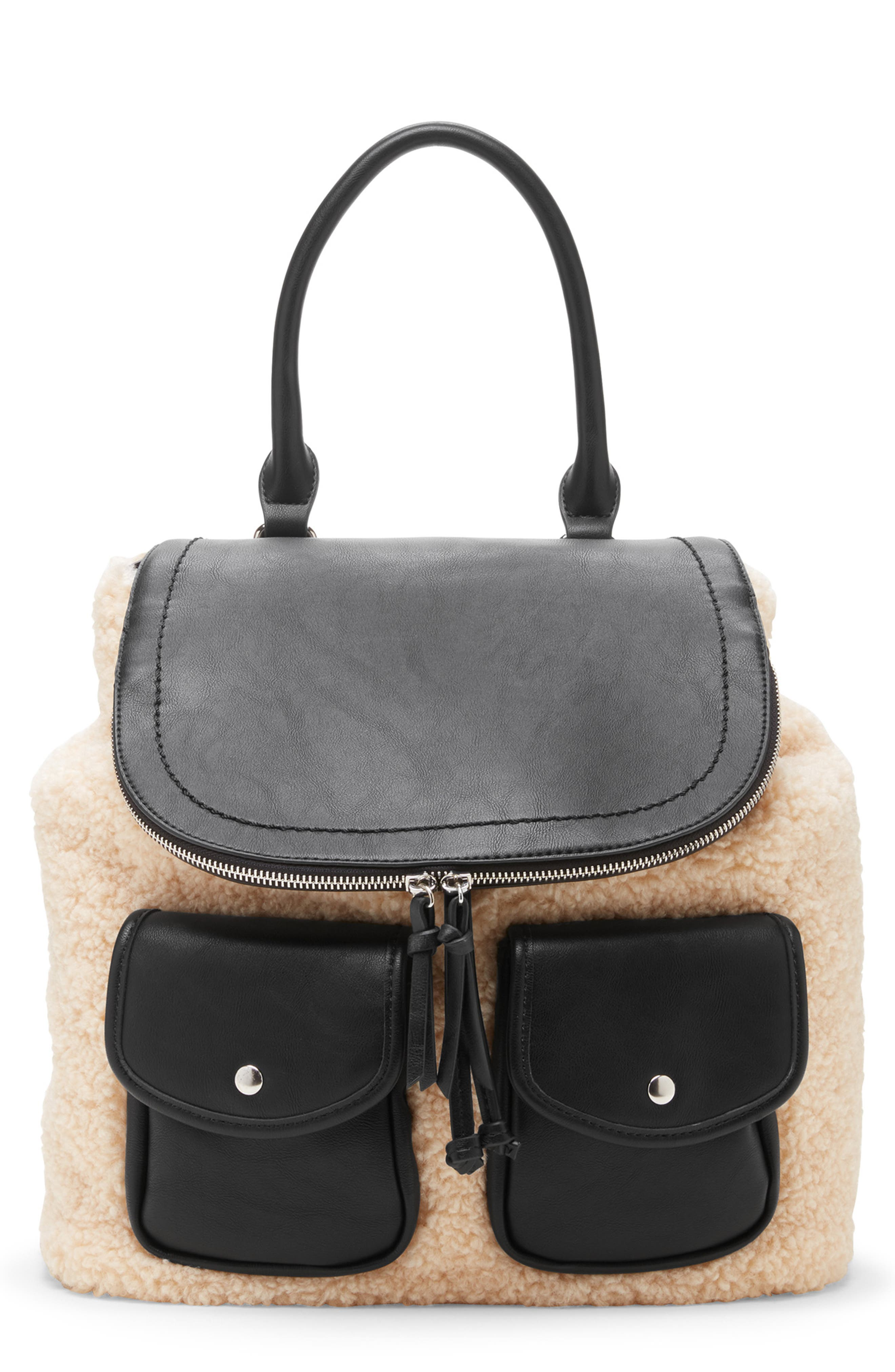 Drury Faux Shearling & Faux Leather Backpack,                             Main thumbnail 1, color,                             BLACK COMBO