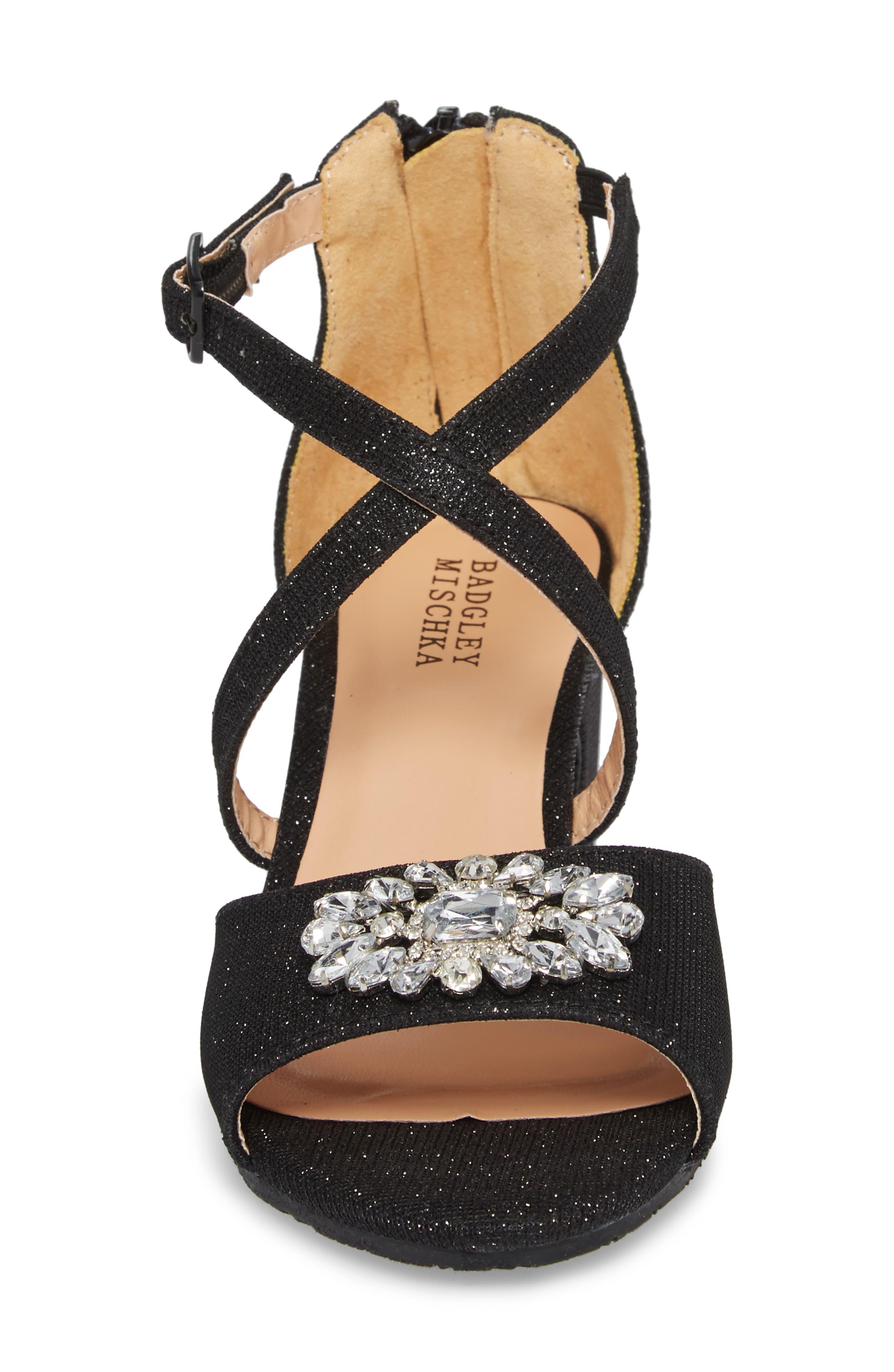 Pernia Gems Sandal,                             Alternate thumbnail 4, color,                             BLACK