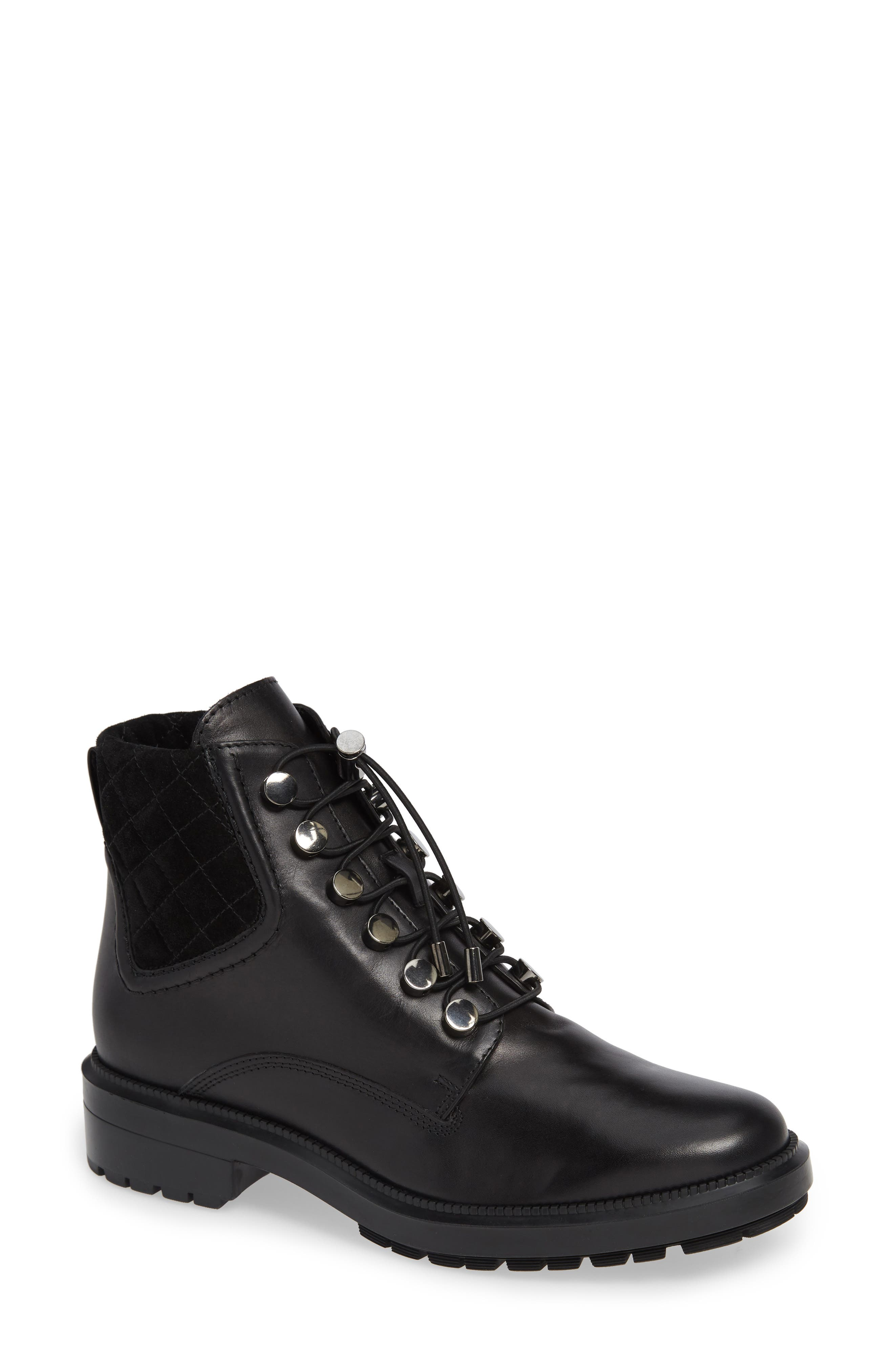 AQUATALIA Linda Leather Combat Boots in Black